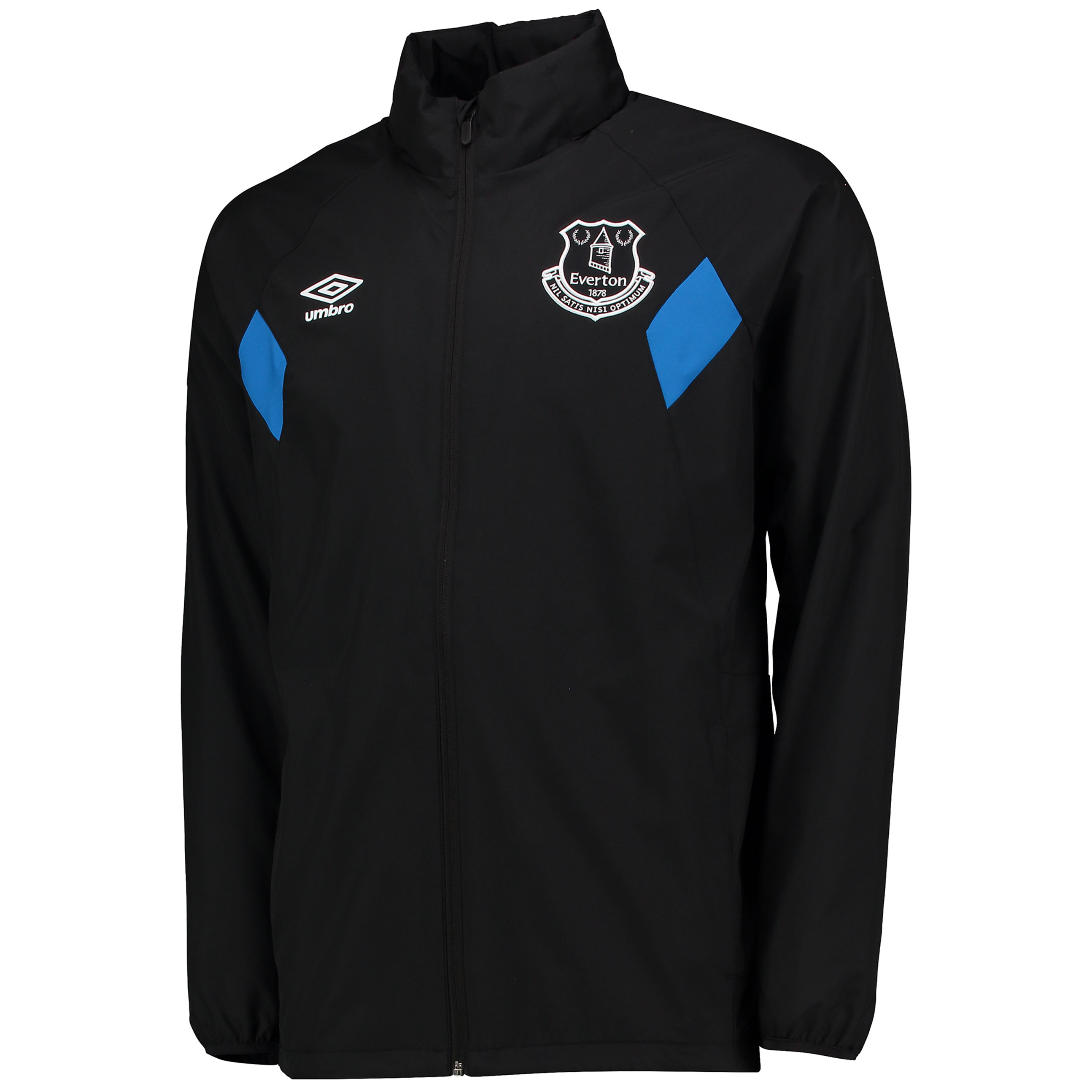 Everton Training Shower Jacket - Black/Electric Blue