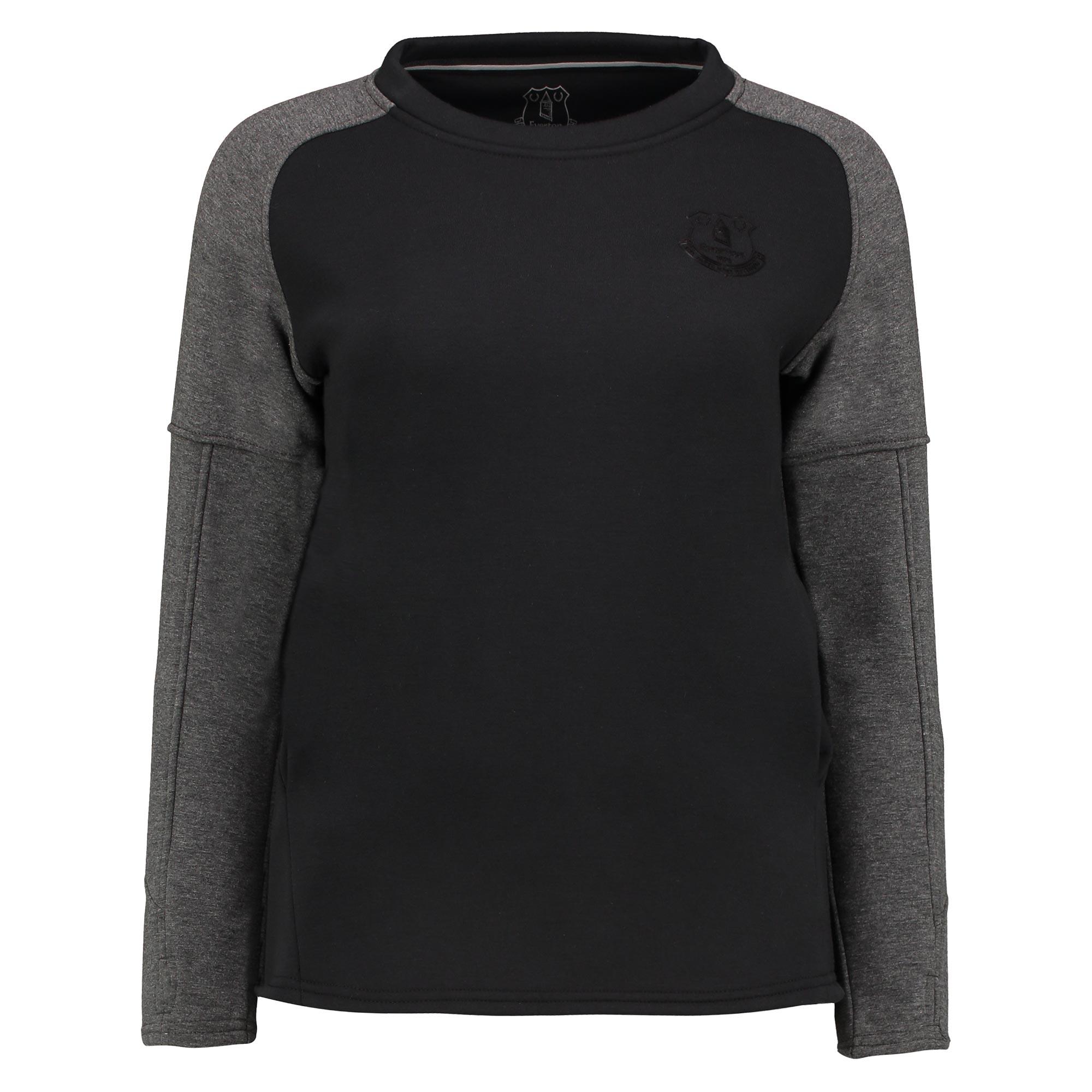 Image of Everton Ath Tech Fleece Sweater - Black/Charcoal Marl - Womens