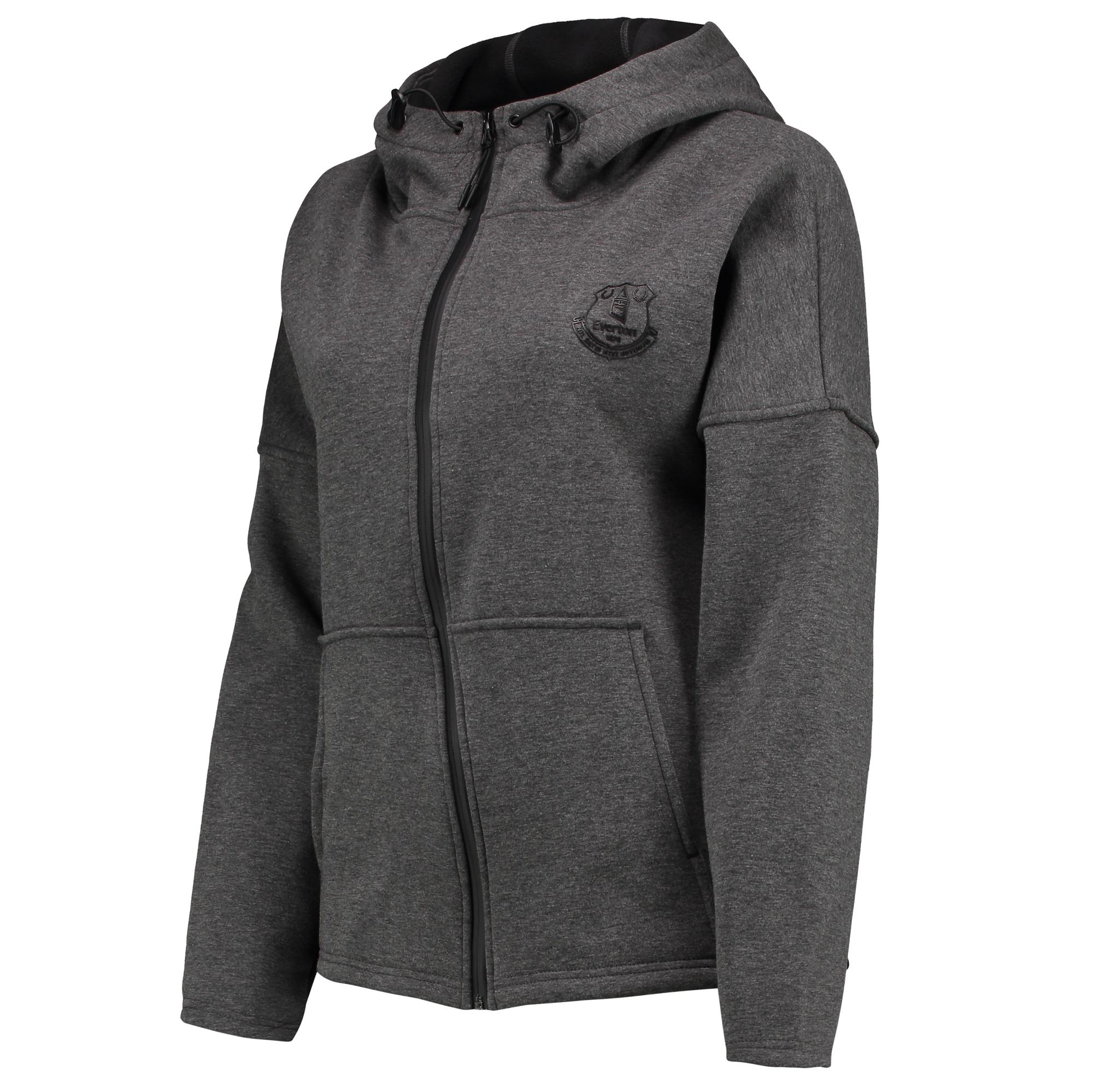 Image of Everton Ath Tech Fleece FZ Hoodie - Charcoal Marl - Womens