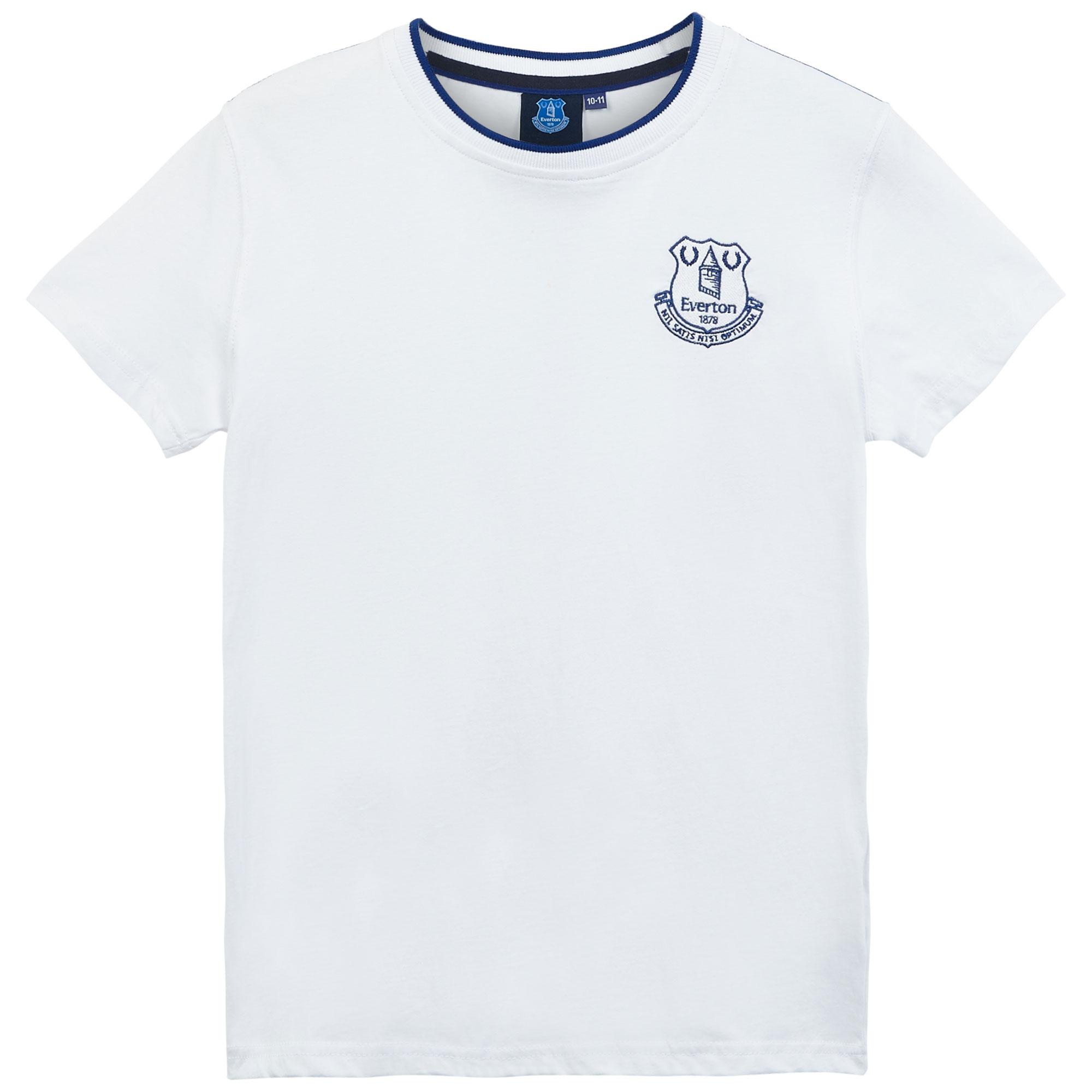 Everton Core Basic Tipped Collar T-Shirt- White-Junior Boys