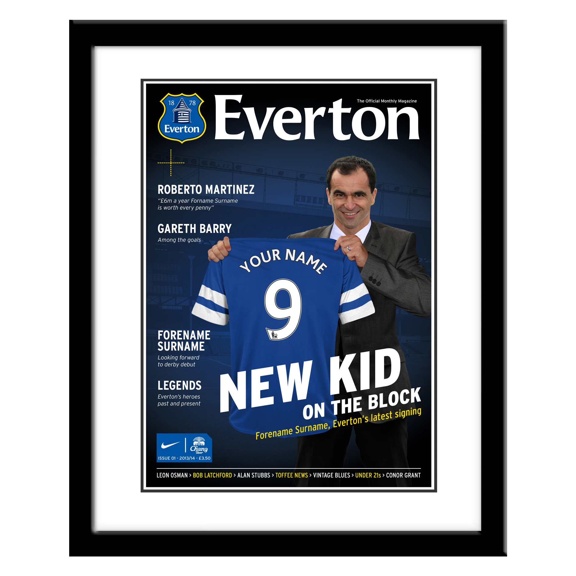 Everton Personalised Magazine Cover Framed