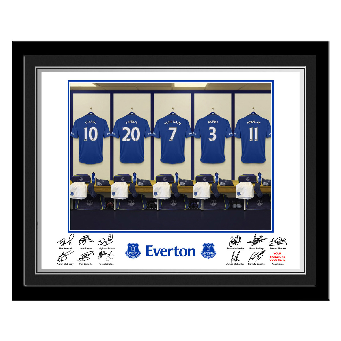 Everton Personalised Dressing Room Photo Framed