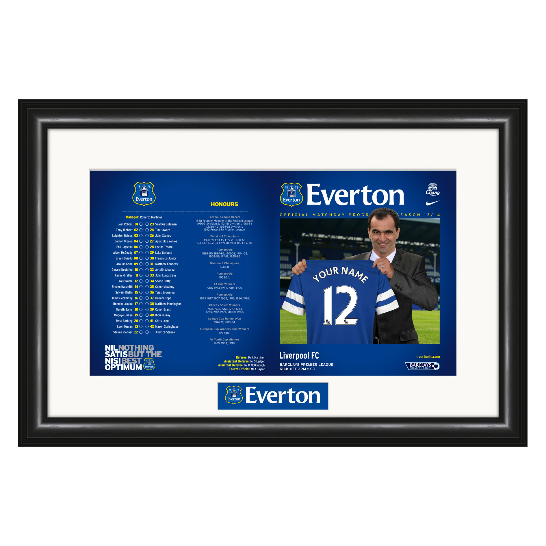 Everton Personalised Match Day Programme