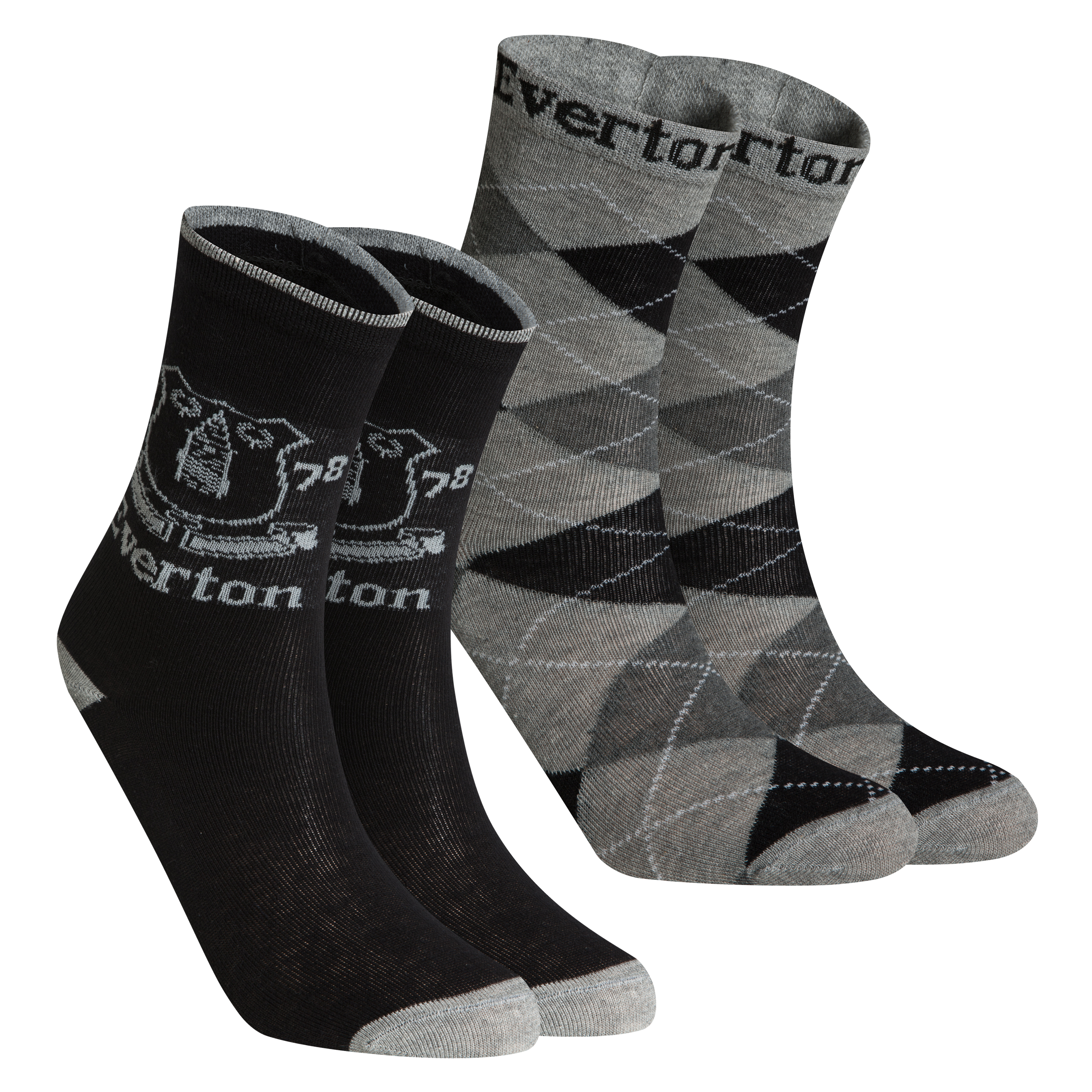 Everton Pack of 2 Dress Socks - Black/Grey - Boys