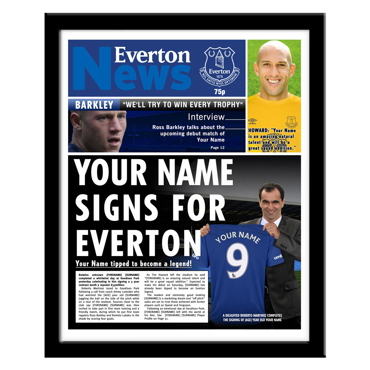 Everton Personalised Newspaper - Framed