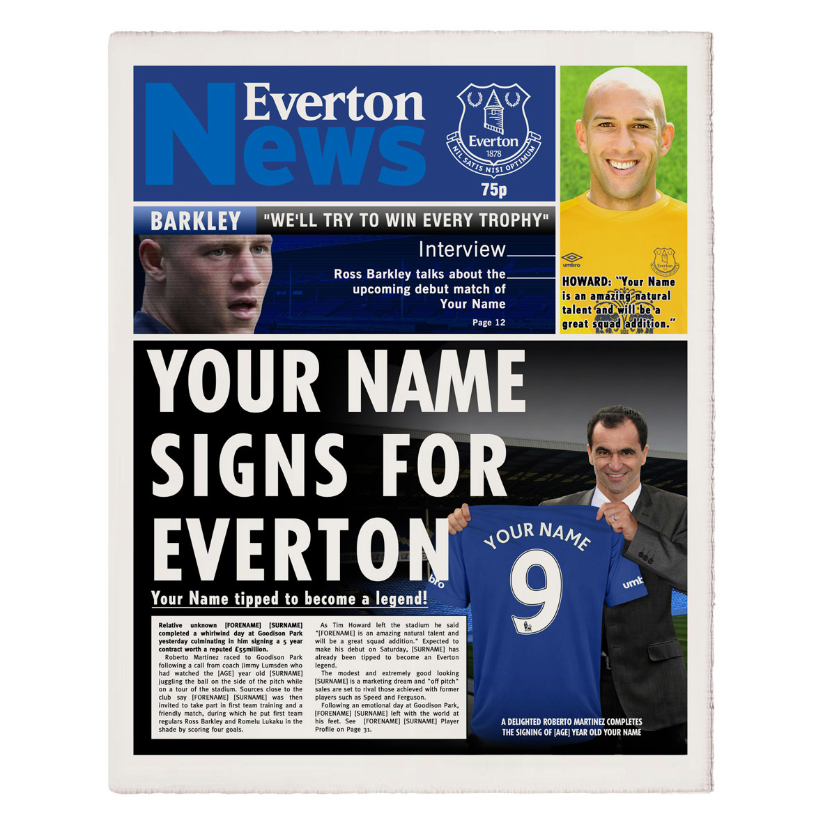 Everton Personalised Newspaper Single Page