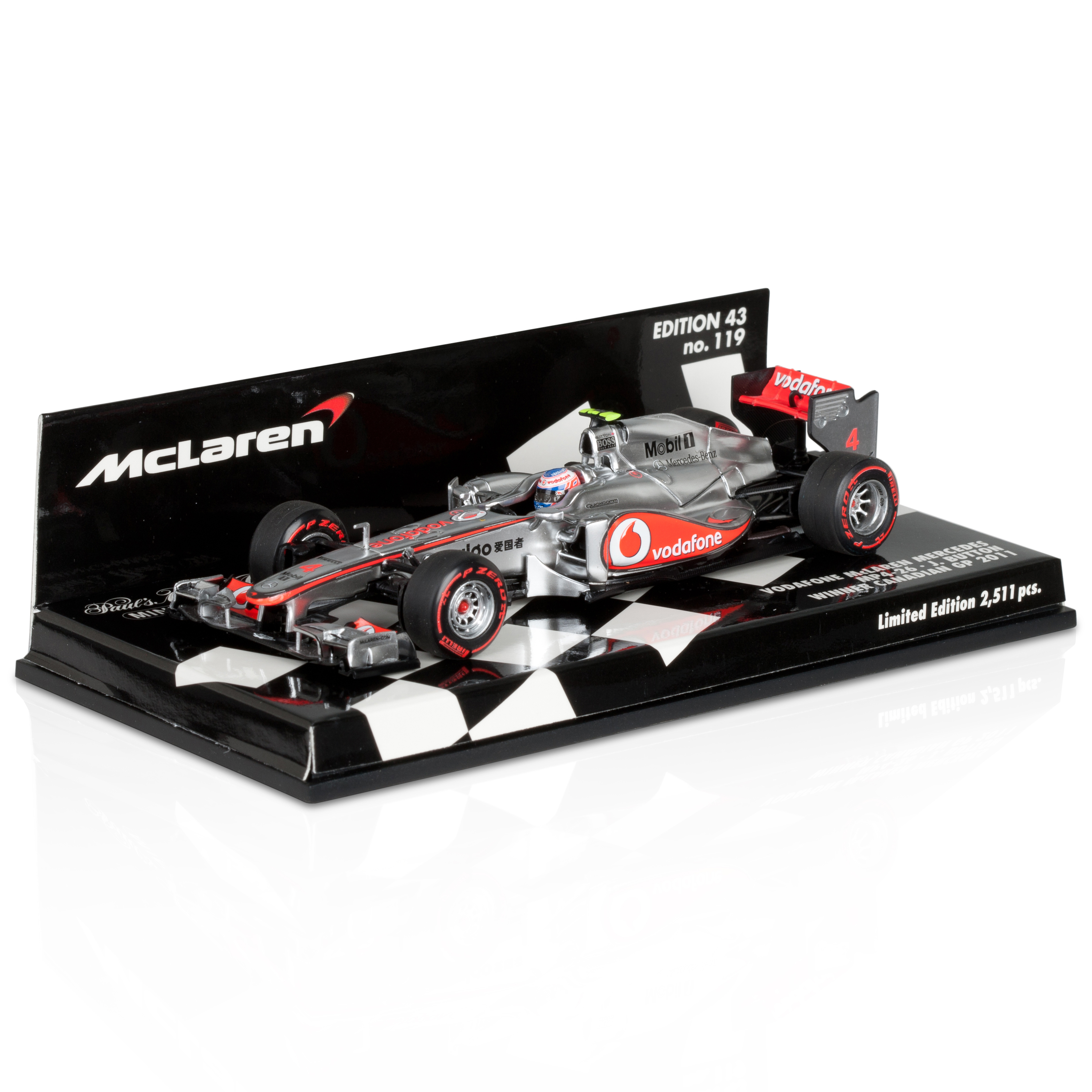 Vodafone McLaren Mercedes MP4-26 Jenson Button Canada GP Winner 2011 - 1:43 Scale