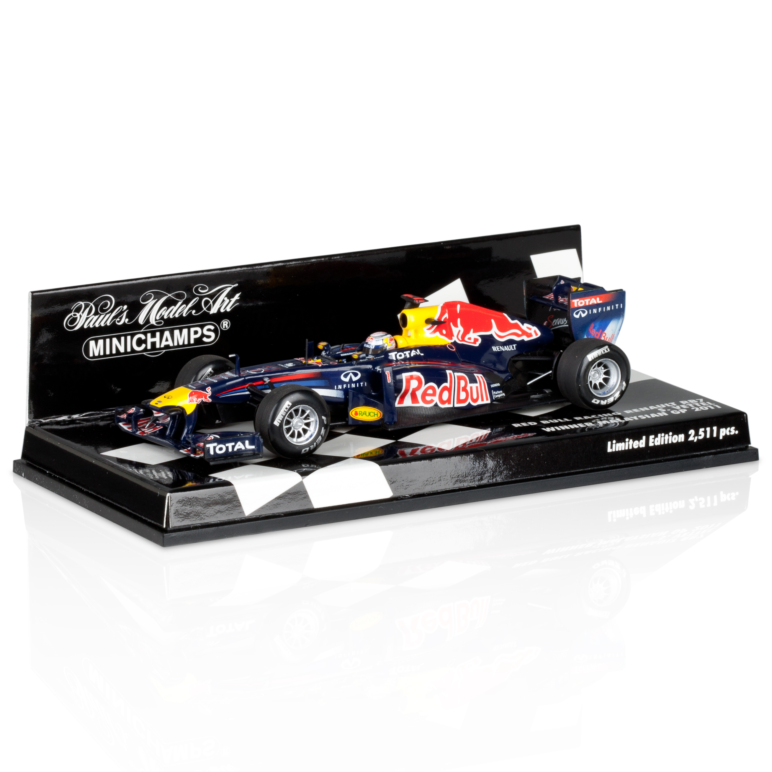 Red Bull Racing RB7 Sebastian Vettel Winner Malaysian GP 2011 1:43 Scale