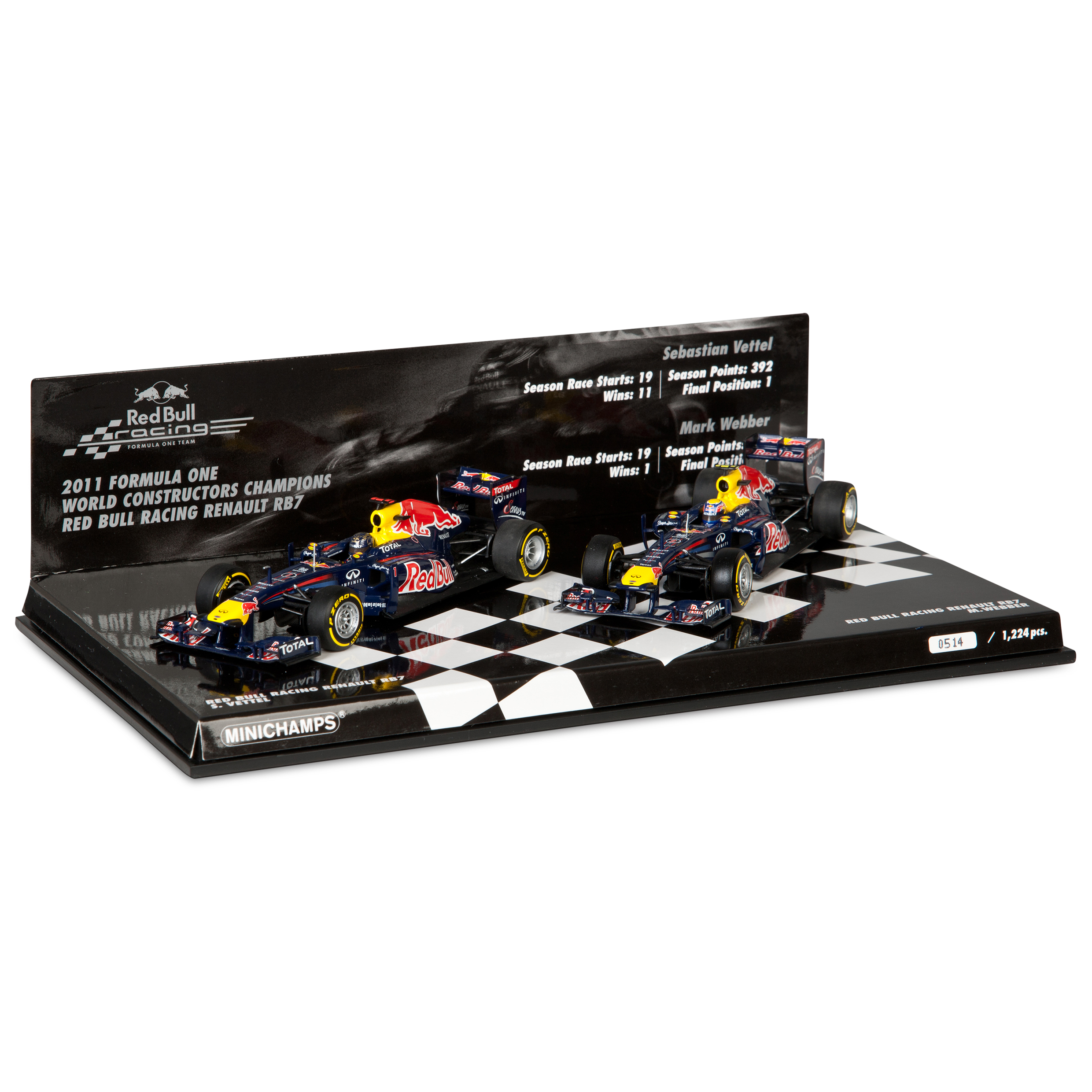 Red Bull Racing RB7 World Champions - Constructors Champions 2 Car Set 1:43 Scale