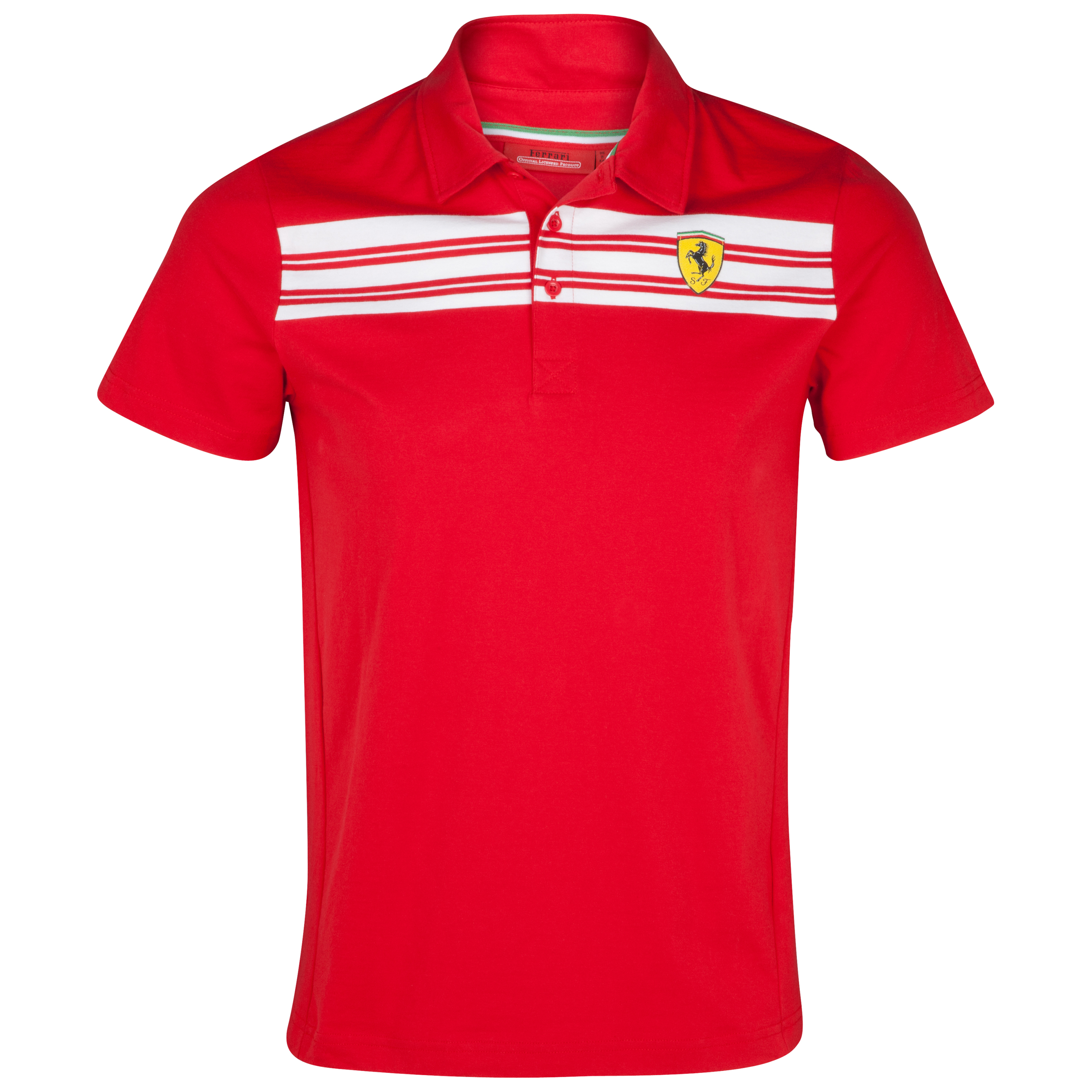 Scuderia Ferrari Striped Polo Shirt - Red