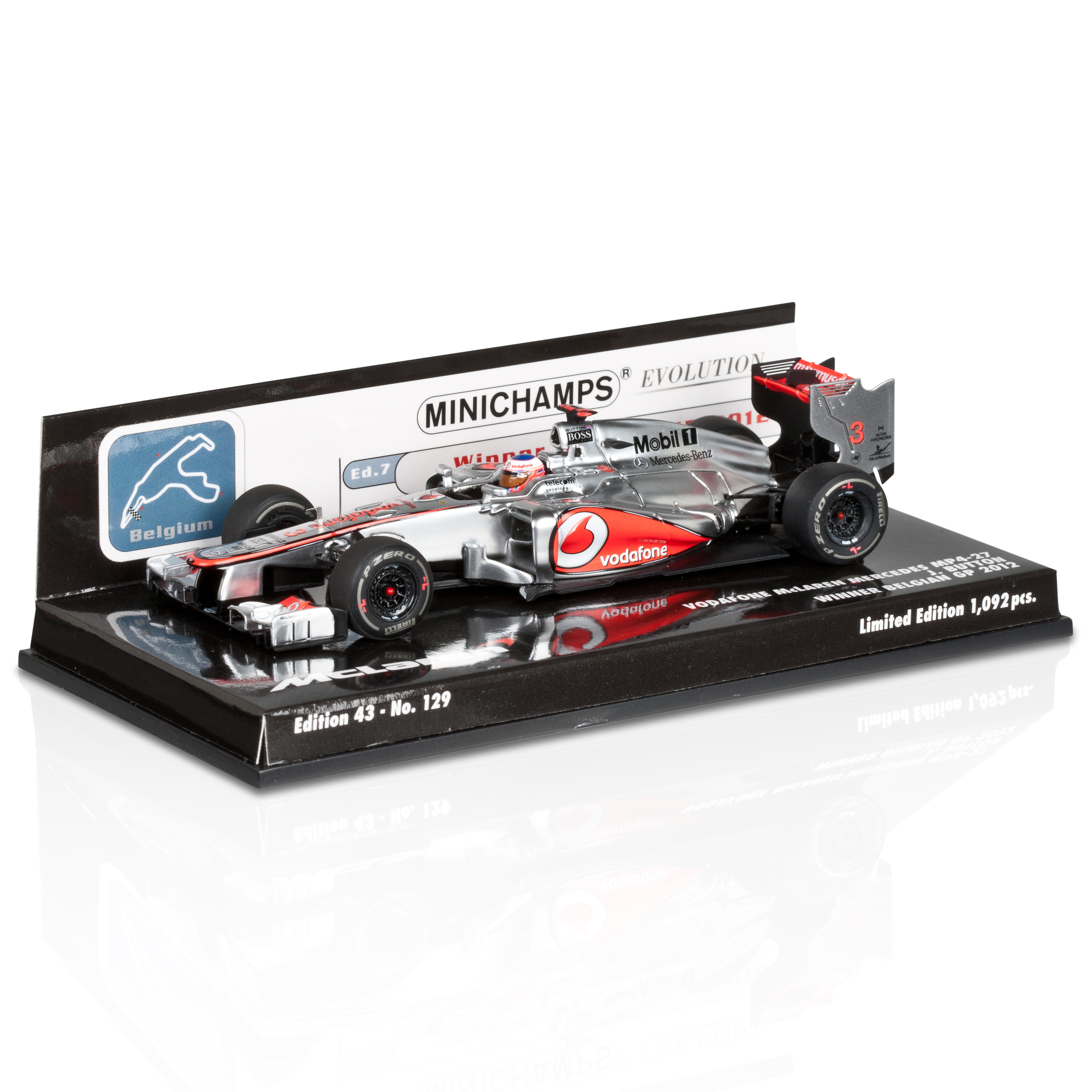 Vodafone McLaren Mercedes MP4-27 Jenson Button Winner Belgium GP 2012 1:43 Scale