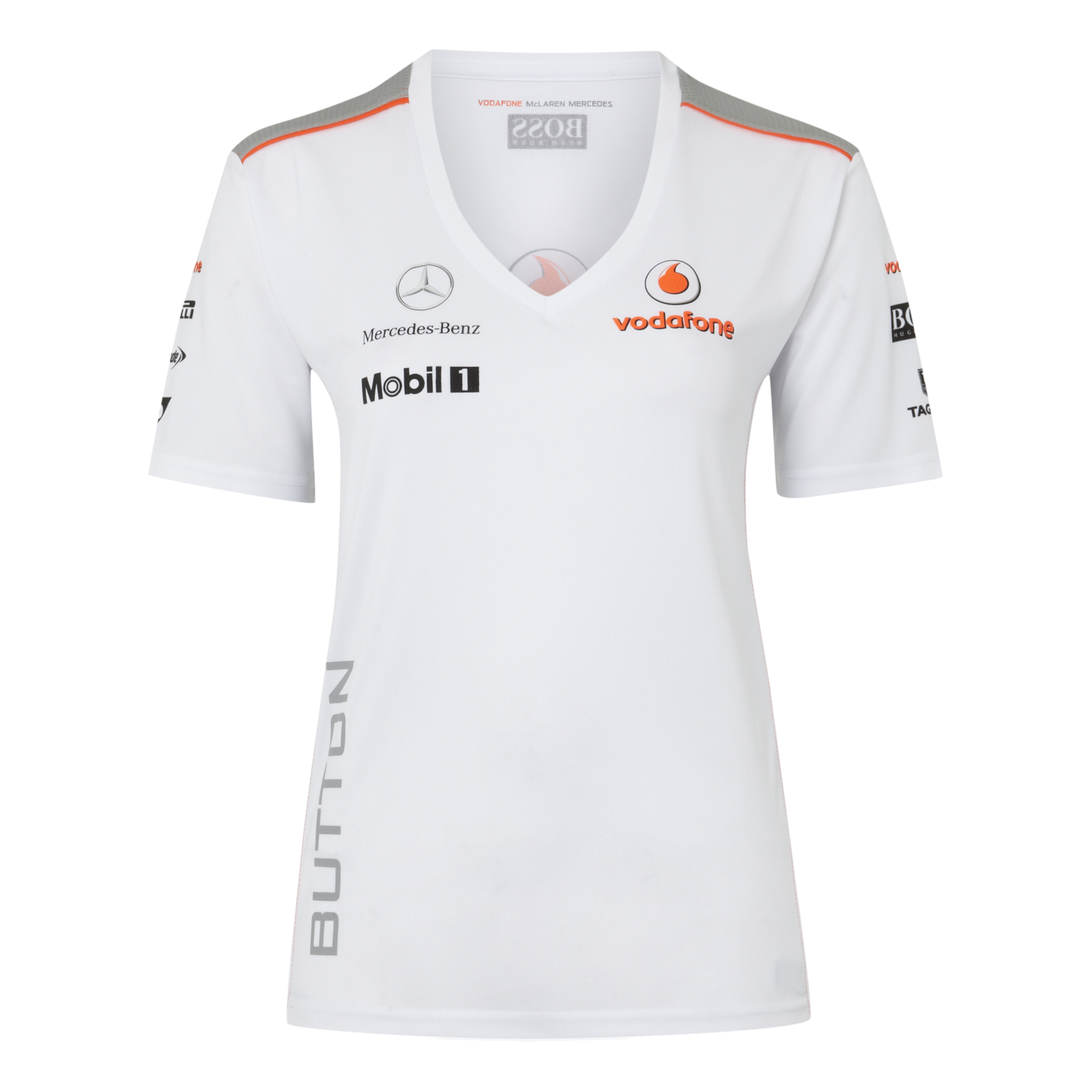 Vodafone McLaren Mercedes 2013 Button T-Shirt - Womens
