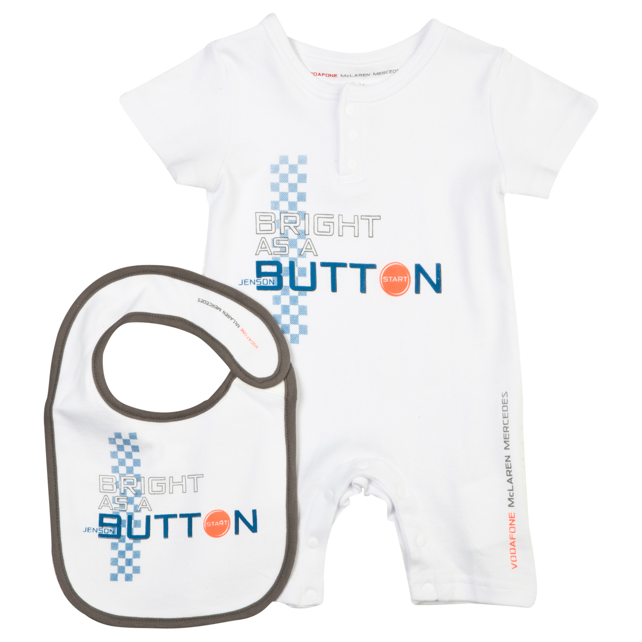 Vodafone McLaren Mercedes Button Baby Romper and Bib Set