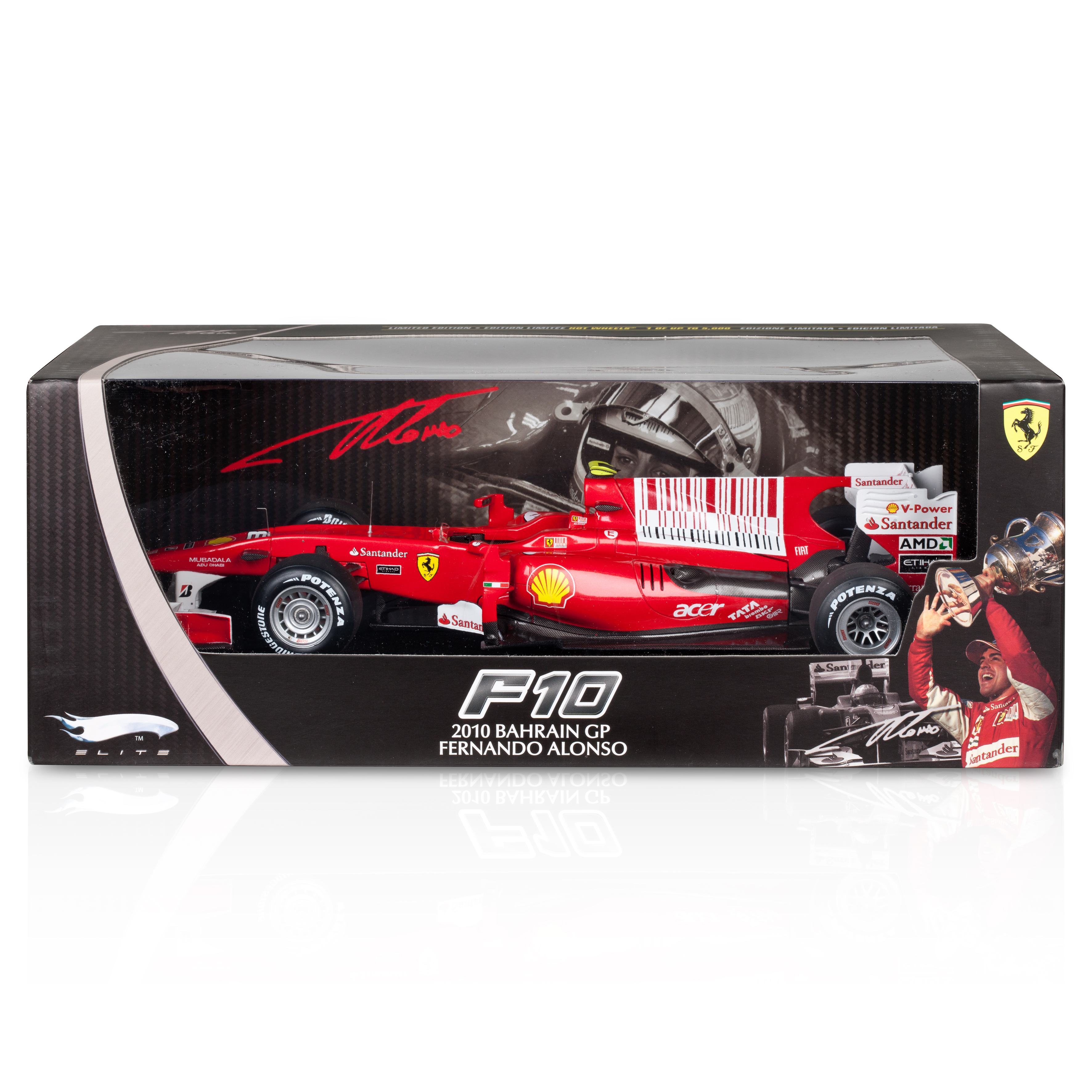 Fernando Alonso Ferrari F1 2010 Bahrain Winner Super Detail 1:18 Scale