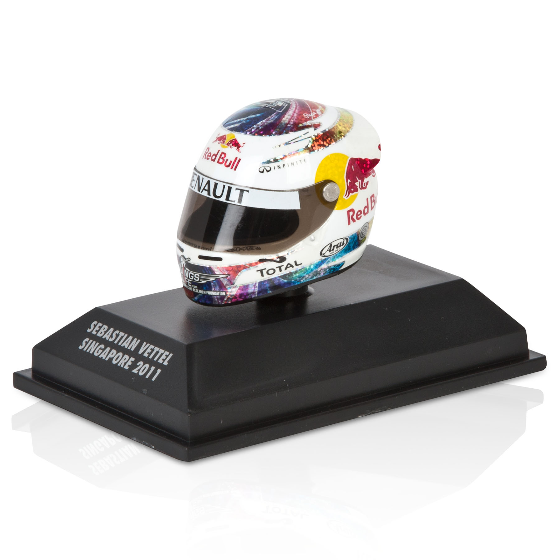 Die Cast Sebastian Vettel - Singapore 2011 1:8 Scale Arari Helmet Model Code: 381110201