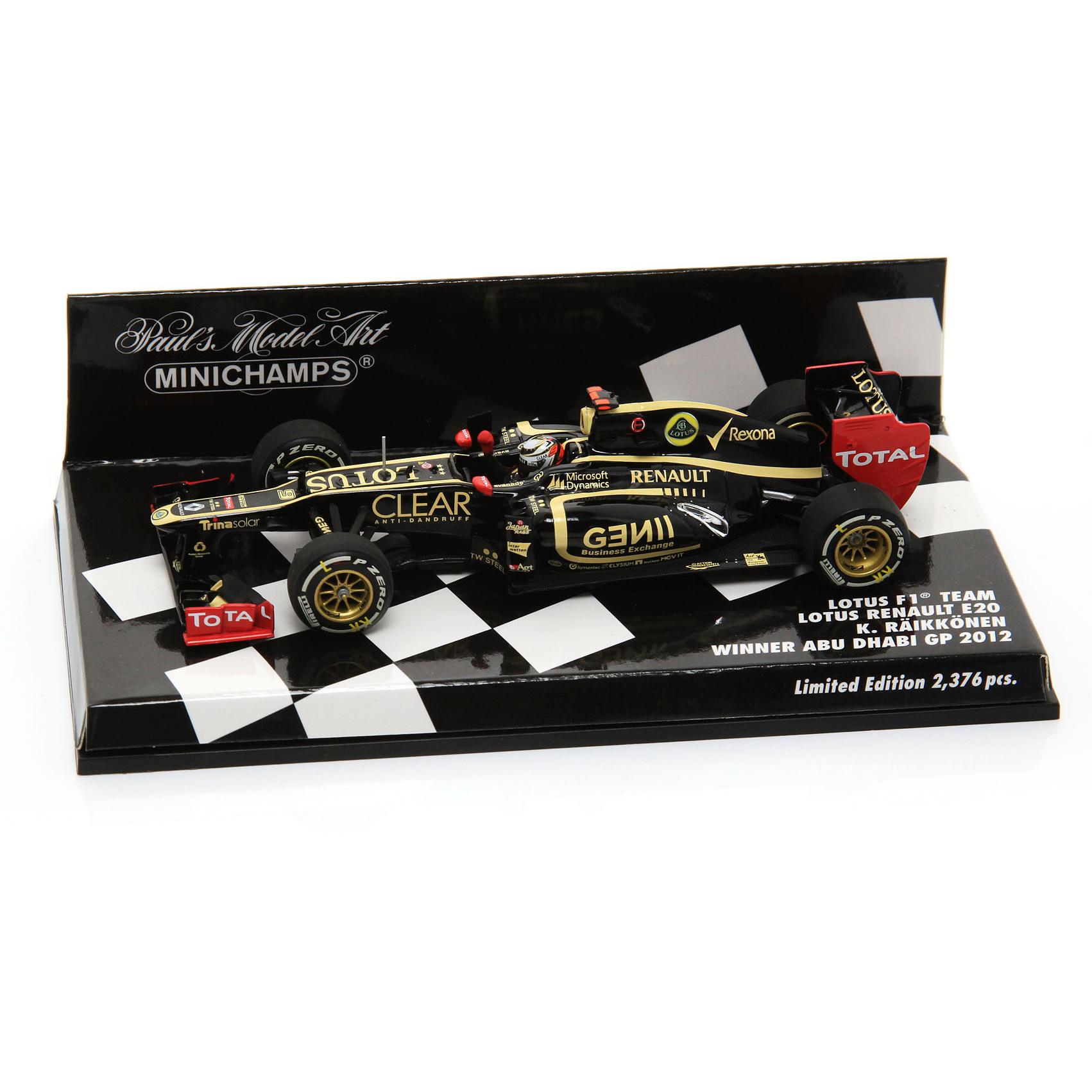 Lotus F1 Renault E20 Kimi Raikkonen - 2012 - Winner Abu Dhabi GP 1:43 Scale