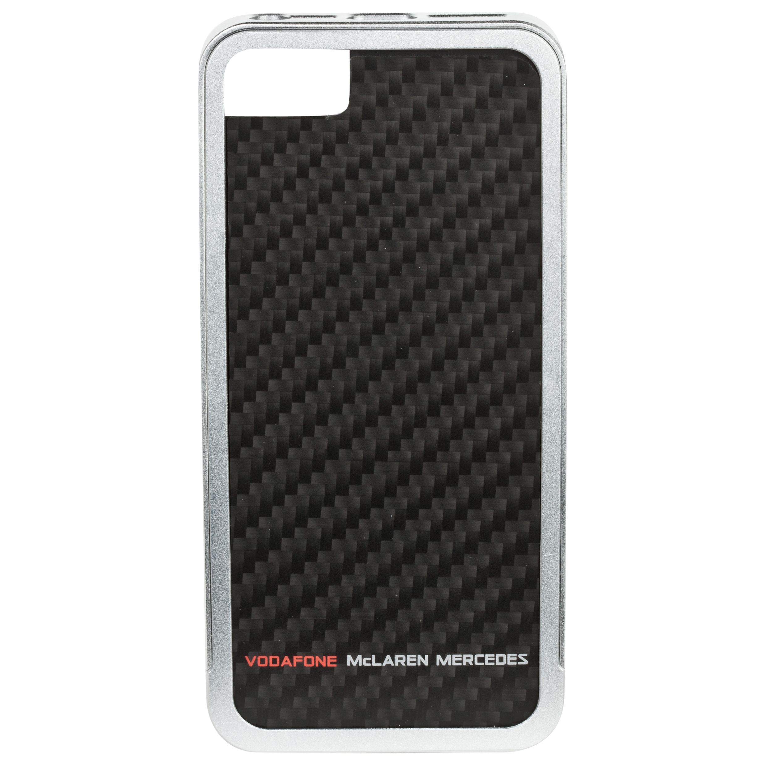 Vodafone McLaren Mercedes Premium Aluminium Bumper with Carbon Fibre Back Plate for iPhone 5 Grey