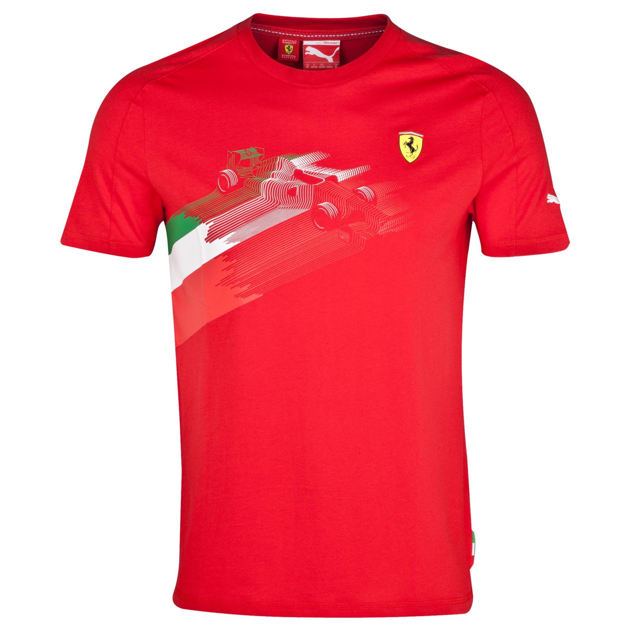 Scuderia Ferrari Triclour Car Graphic T-Shirt Red