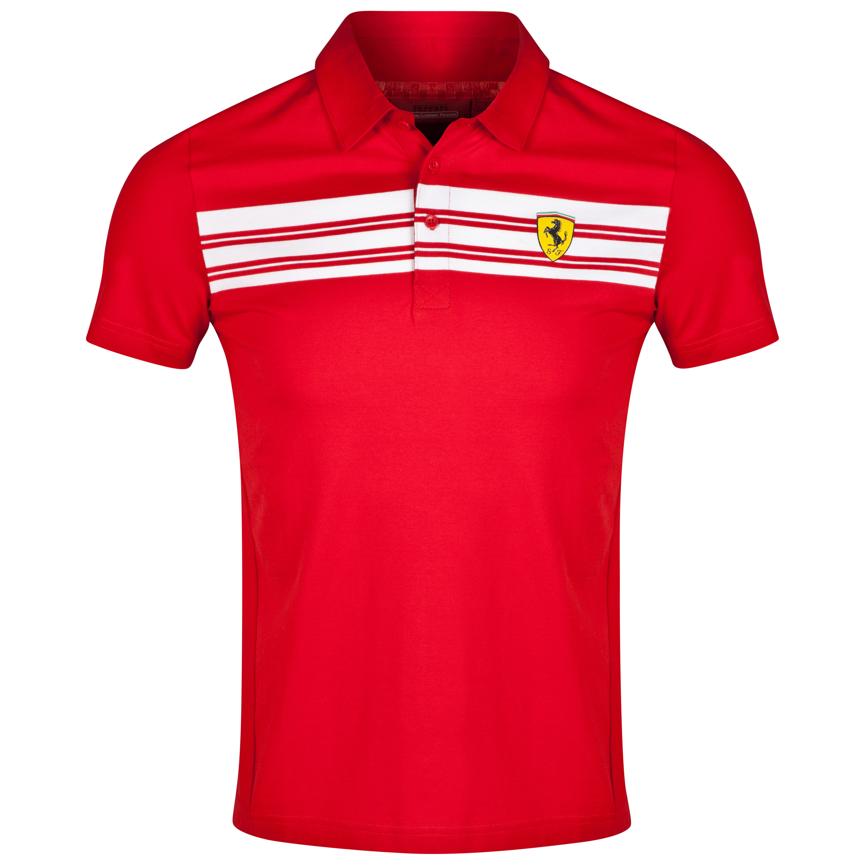 Scuderia Ferrari Striped Polo Shirt - Red