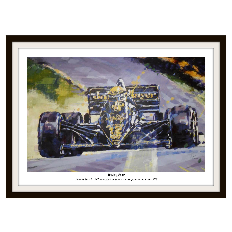 Formula One Senna Rising Star Framed Print By Simon Canacott