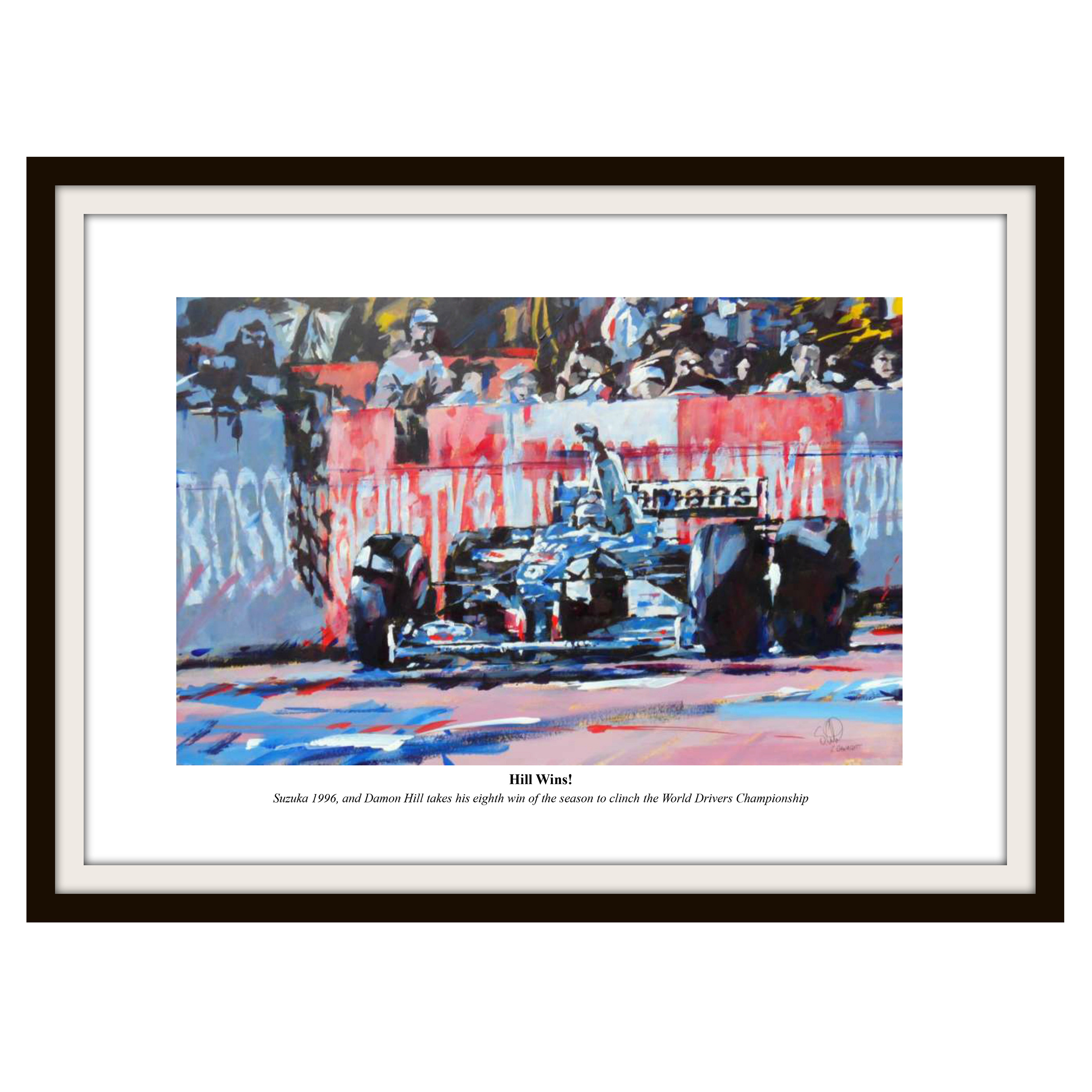 Formula One Damon Hill Framed Print By Simon Canacott