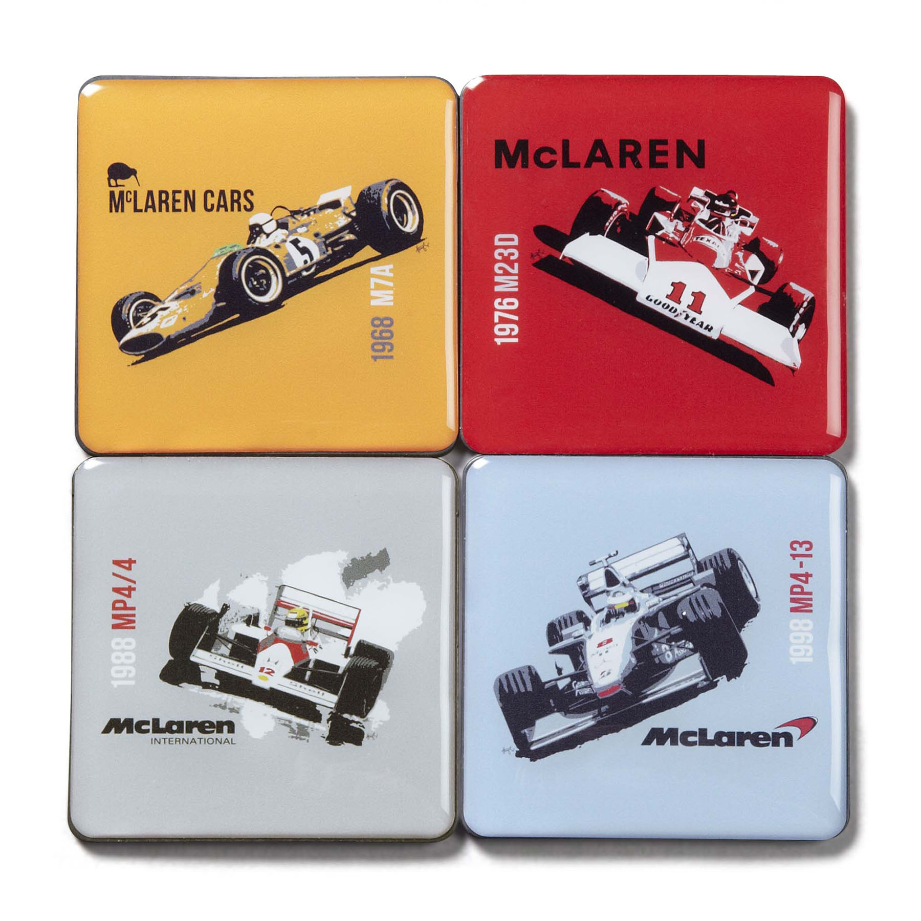 McLaren Mercedes Heritage Cars Fridge Magnet Set