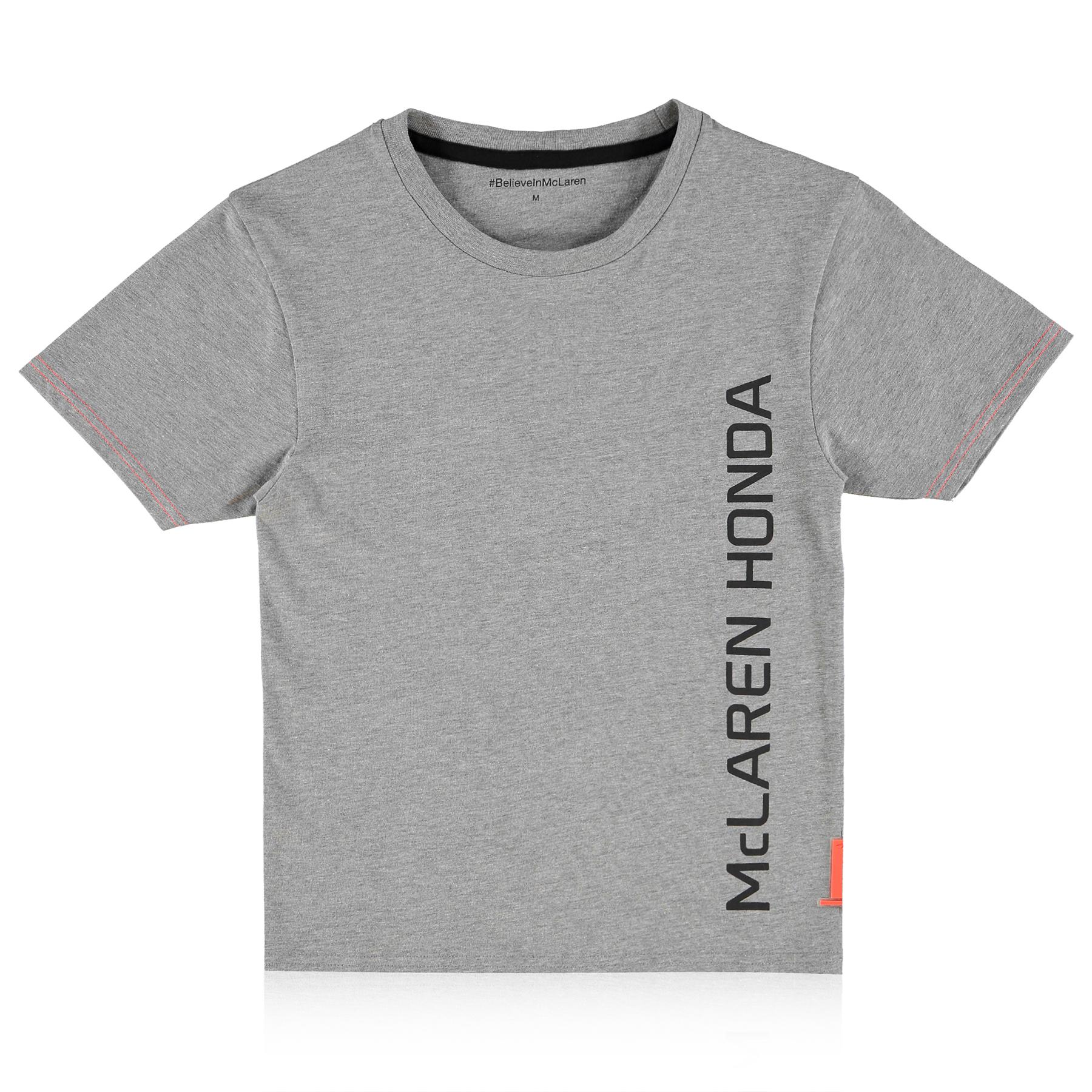 McLaren Honda Essentials Vertical Print T-Shirt - Grey - Kids