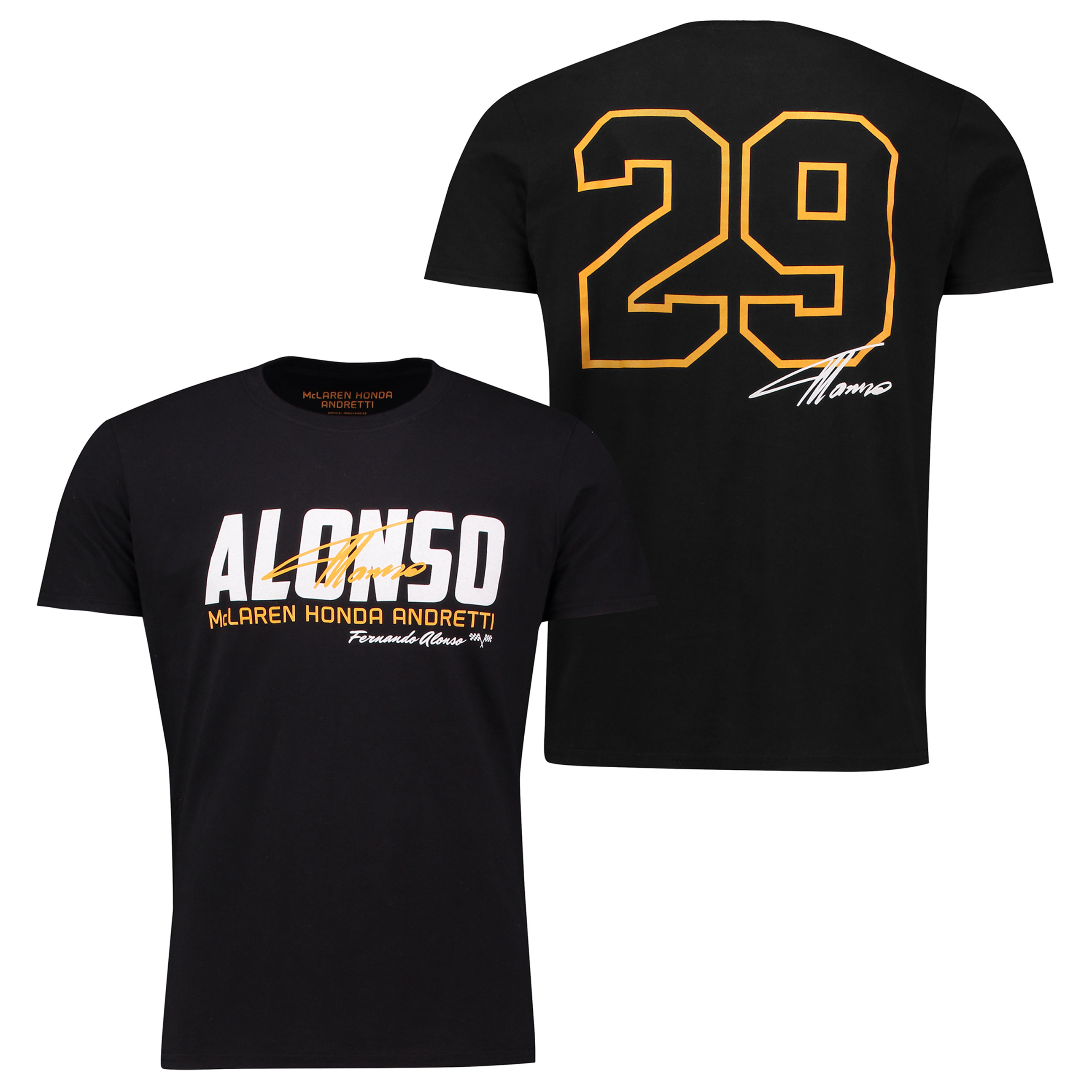 McLaren Honda Andretti Fernando Alonso Indy 500 Signature T-Shirt - Bl