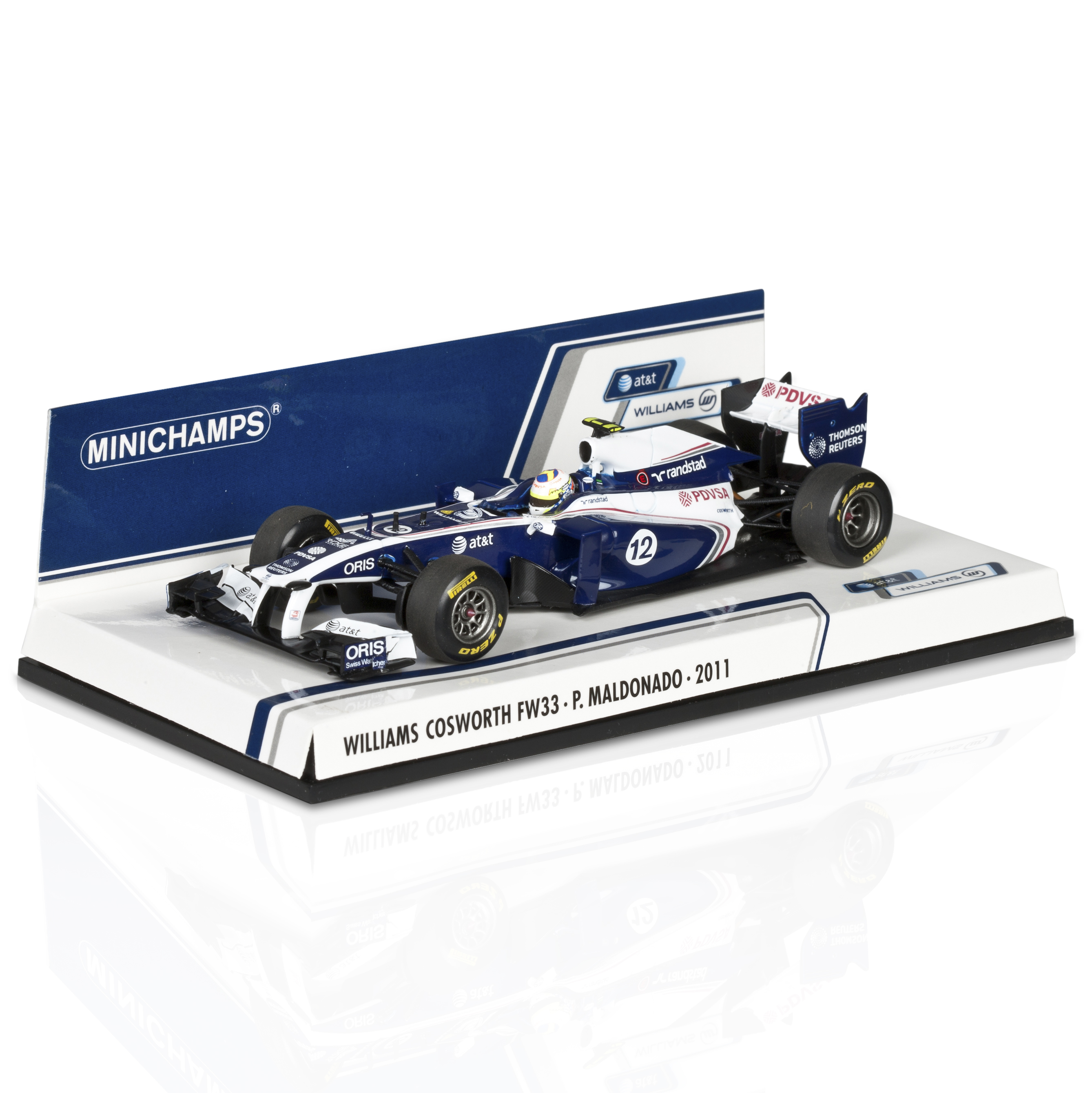 At&amp;T Williams Cosworth FW33 Pastor Maldonado 1:43 Scale