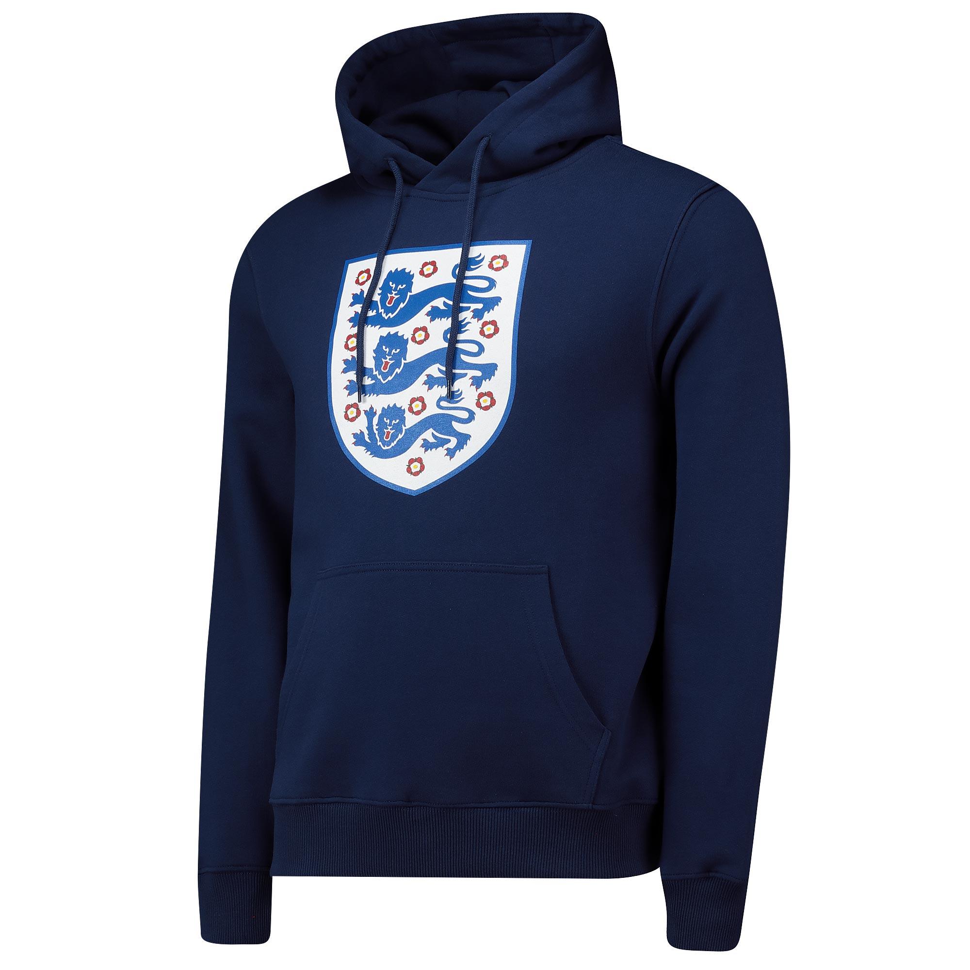 England Large Printed Crest Hoodie - Navy - Mens