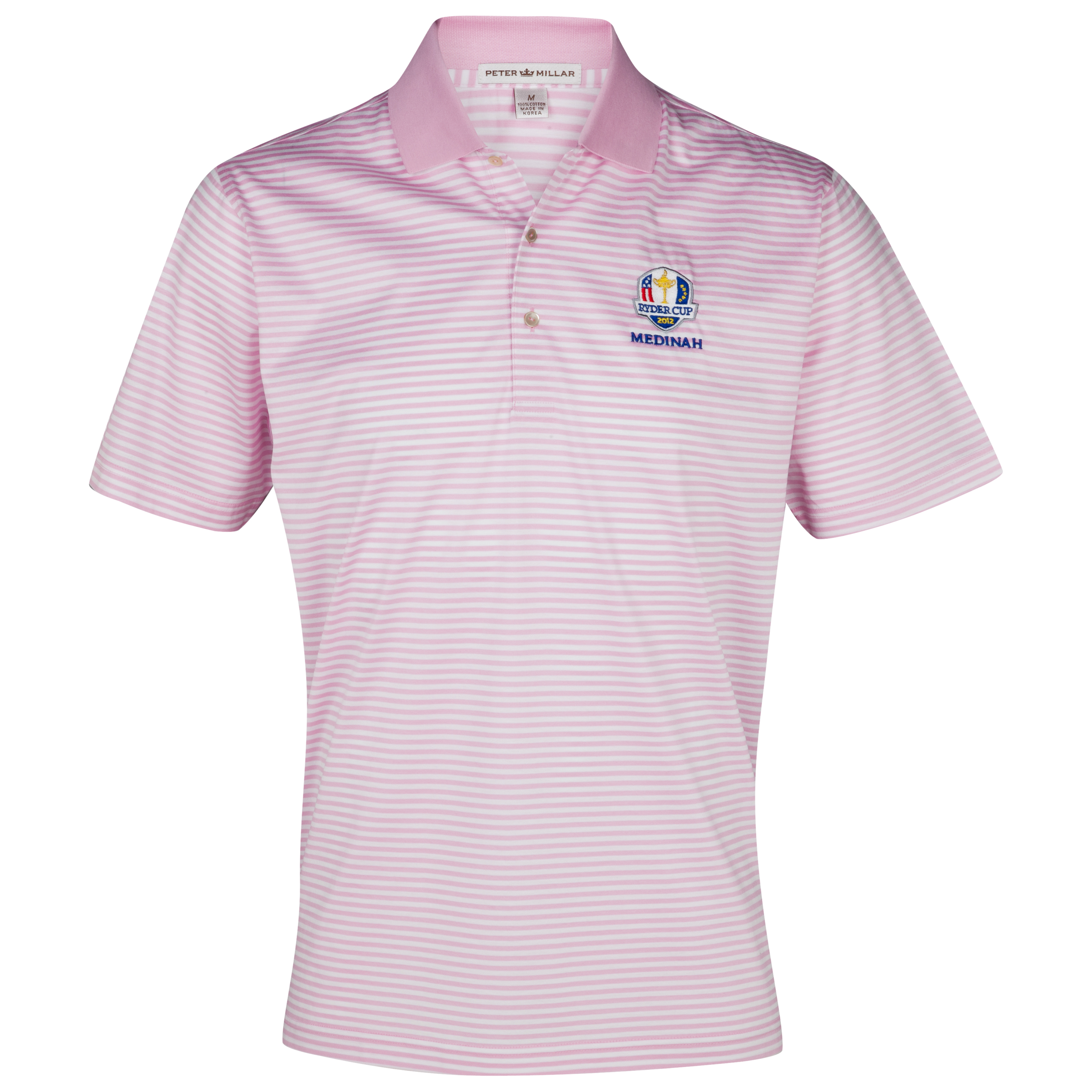 The Ryder Cup Medinah 2012 Peter Millar Luxury Stripe Polo - Retro Pink/White