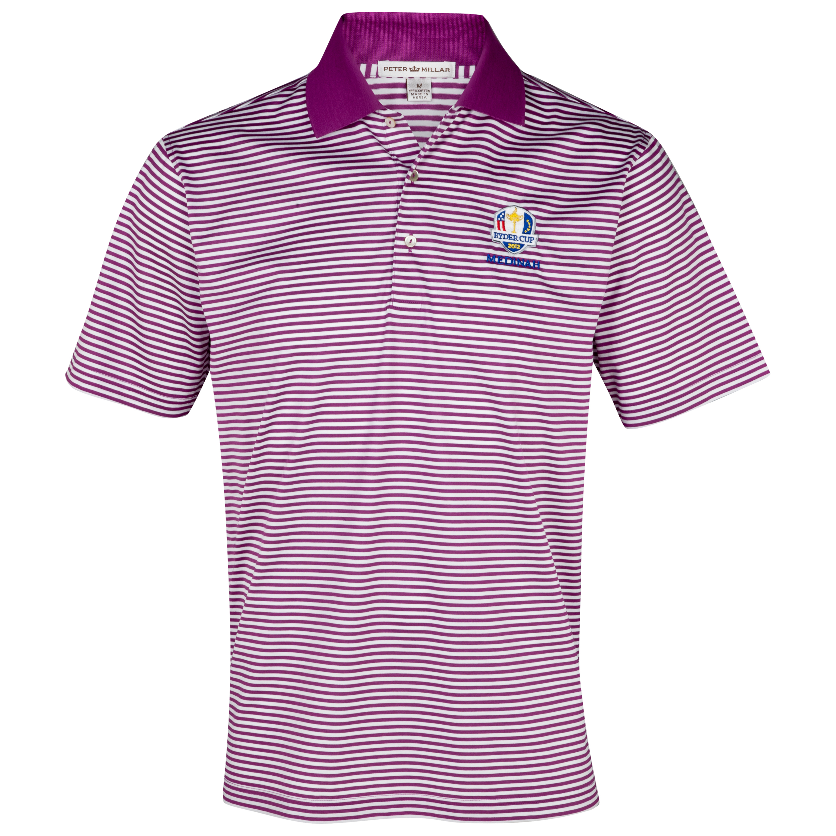 The Ryder Cup Medinah 2012 Peter Millar Luxury Stripe Polo - Raspberry/White