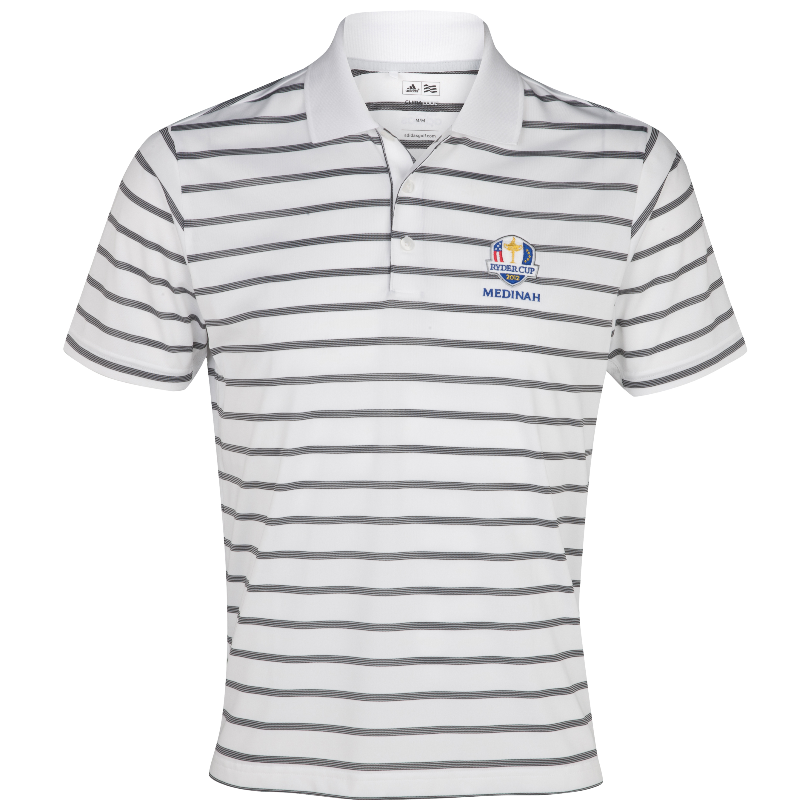 The Ryder Cup Medinah 2012 adidas ClimaCool Textured Stripe Polo - White/Black