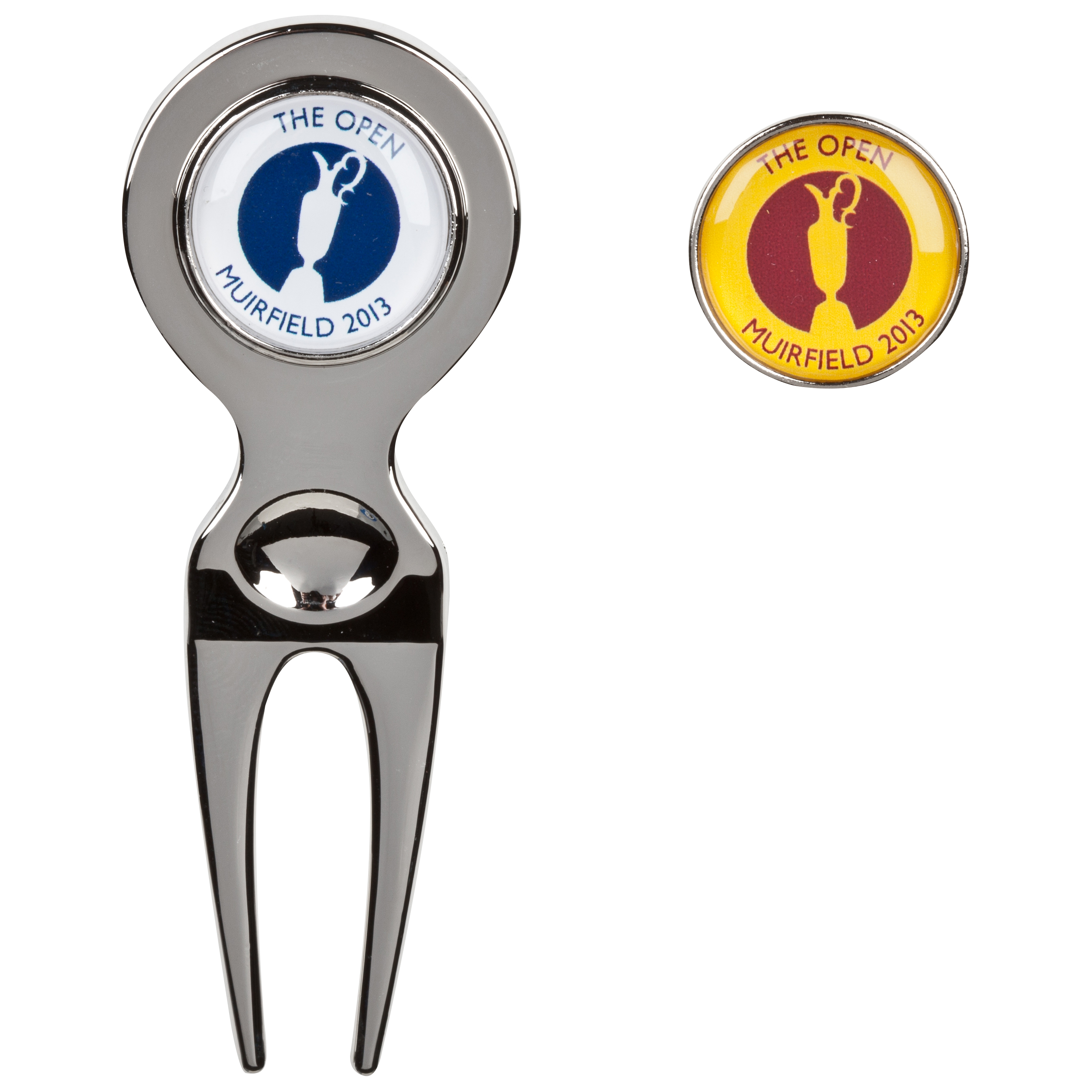 The Open Championship 2013 Muirfield Pitchfork & Ball Marker Yellow