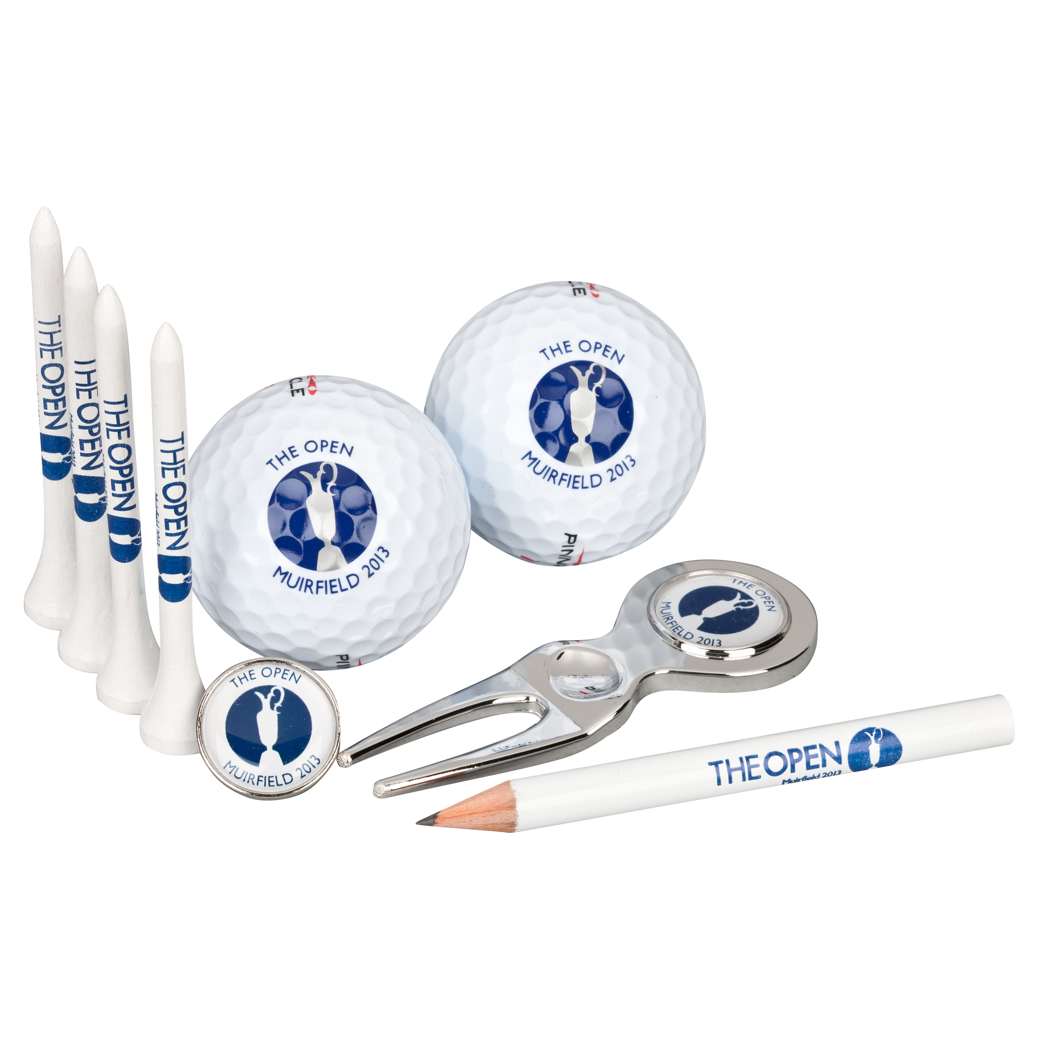 The Open Championship 2013 Muirfield Boxset 2 Pitchfork Ball Marker Tees Pencil & 2 Golf Balls