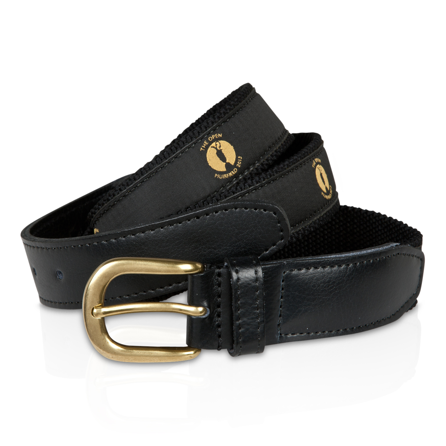 The Open Championship Muirfield Webbing Belt - Black/Gold Ribbon Black