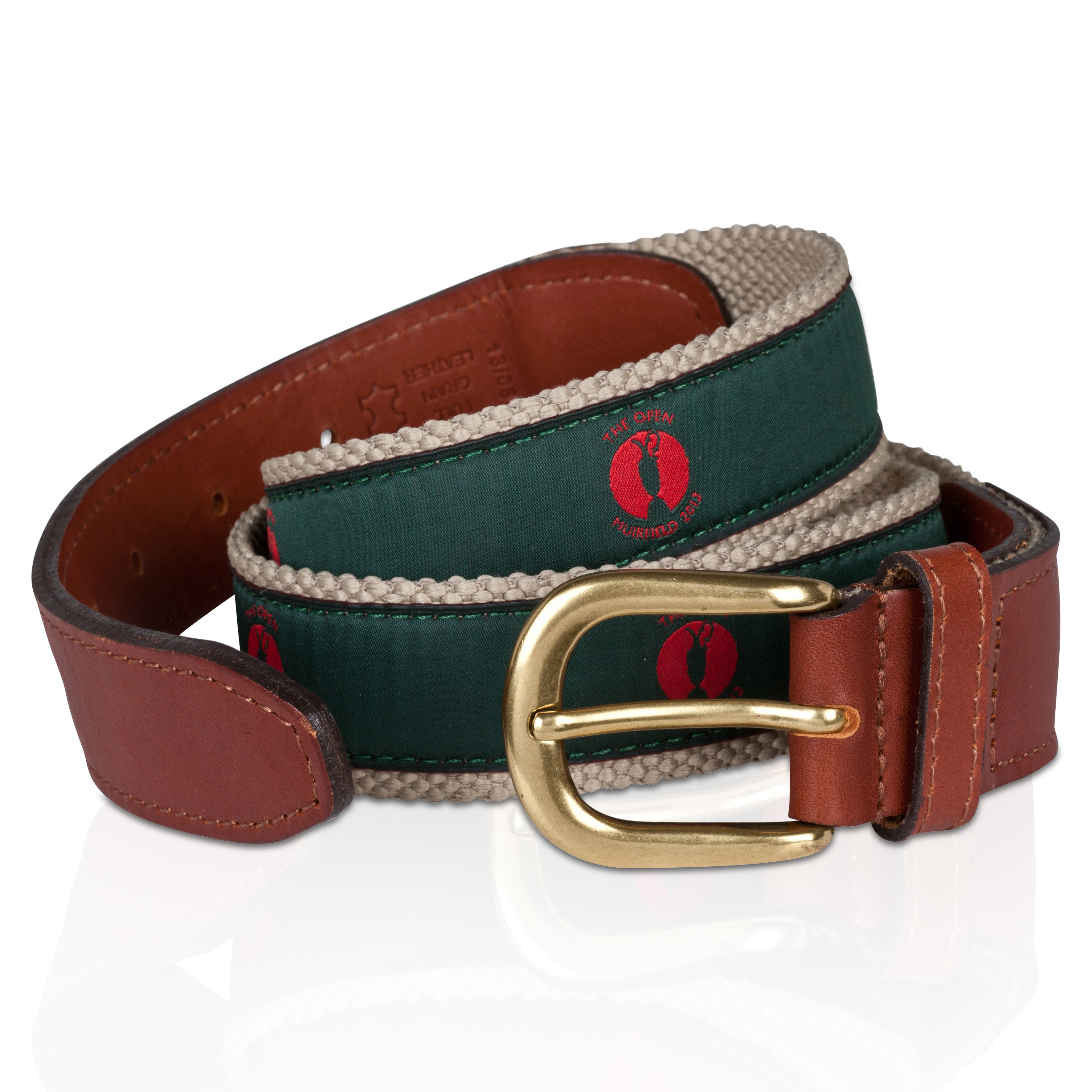 The Open Championship Muirfield Webbing Belt - Red/Green Ribbon Red