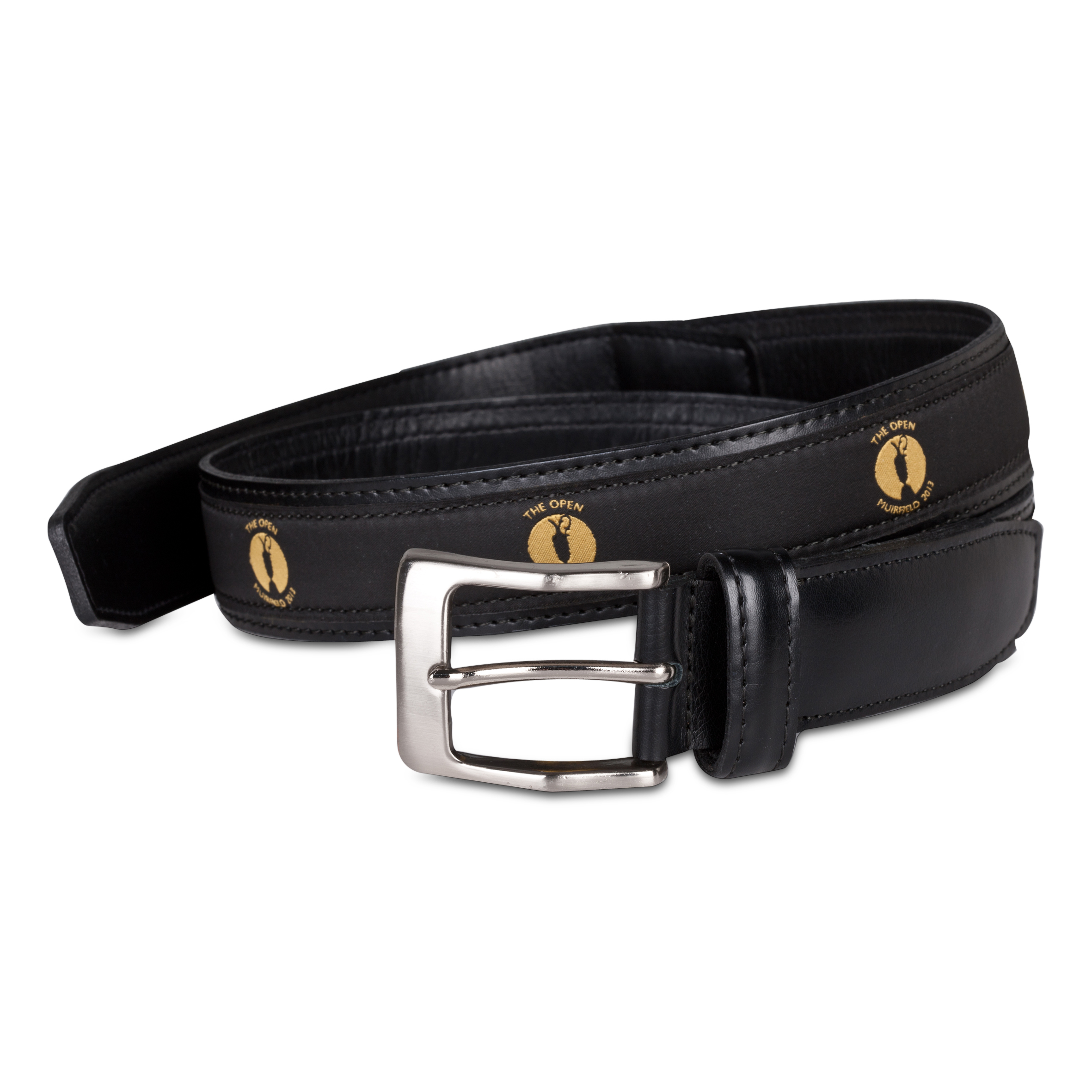 The Open Championship Muirfield Leather Belt - Black/Gold Ribbon Black