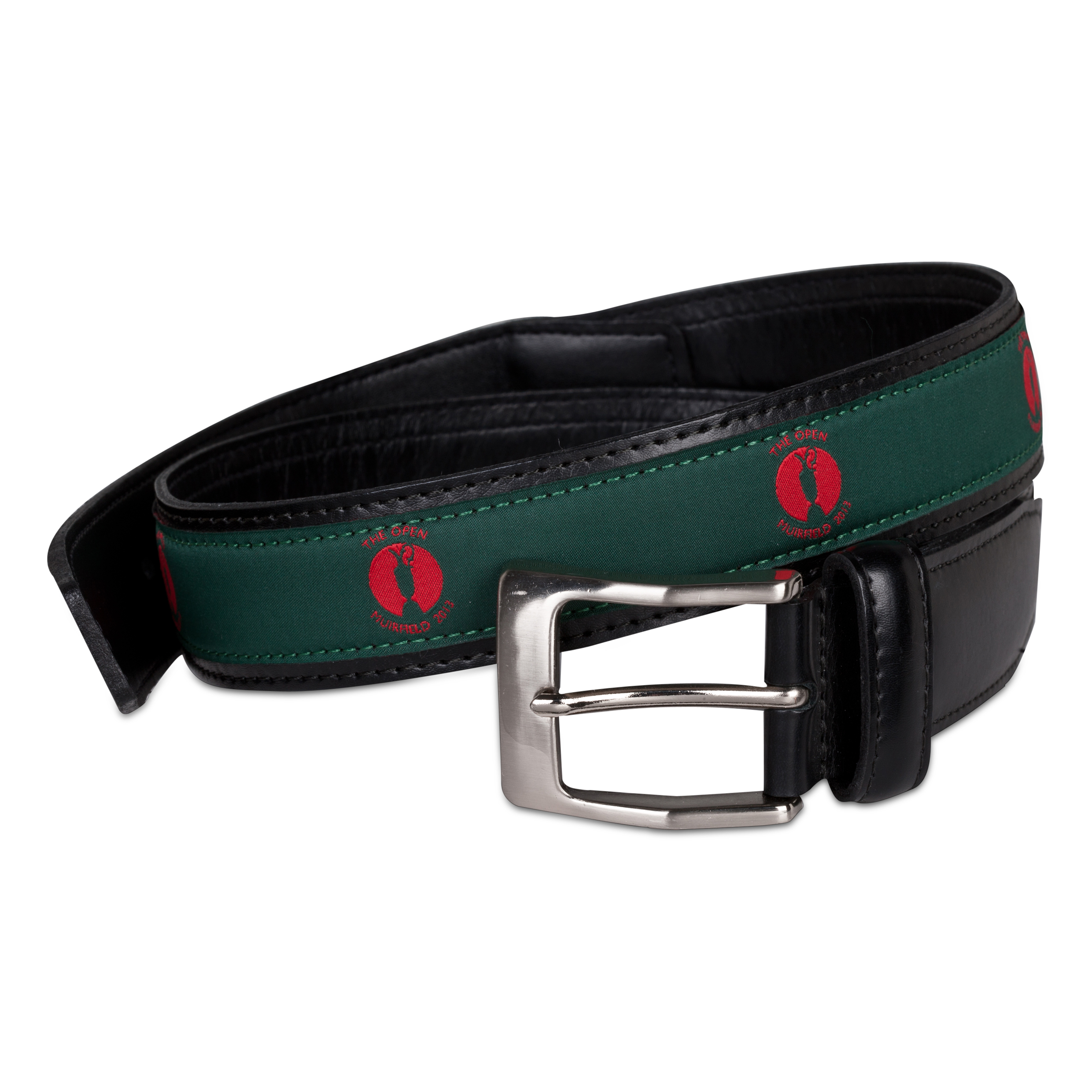 The Open Championship Muirfield Leather Belt - Green/Red Ribbon Green