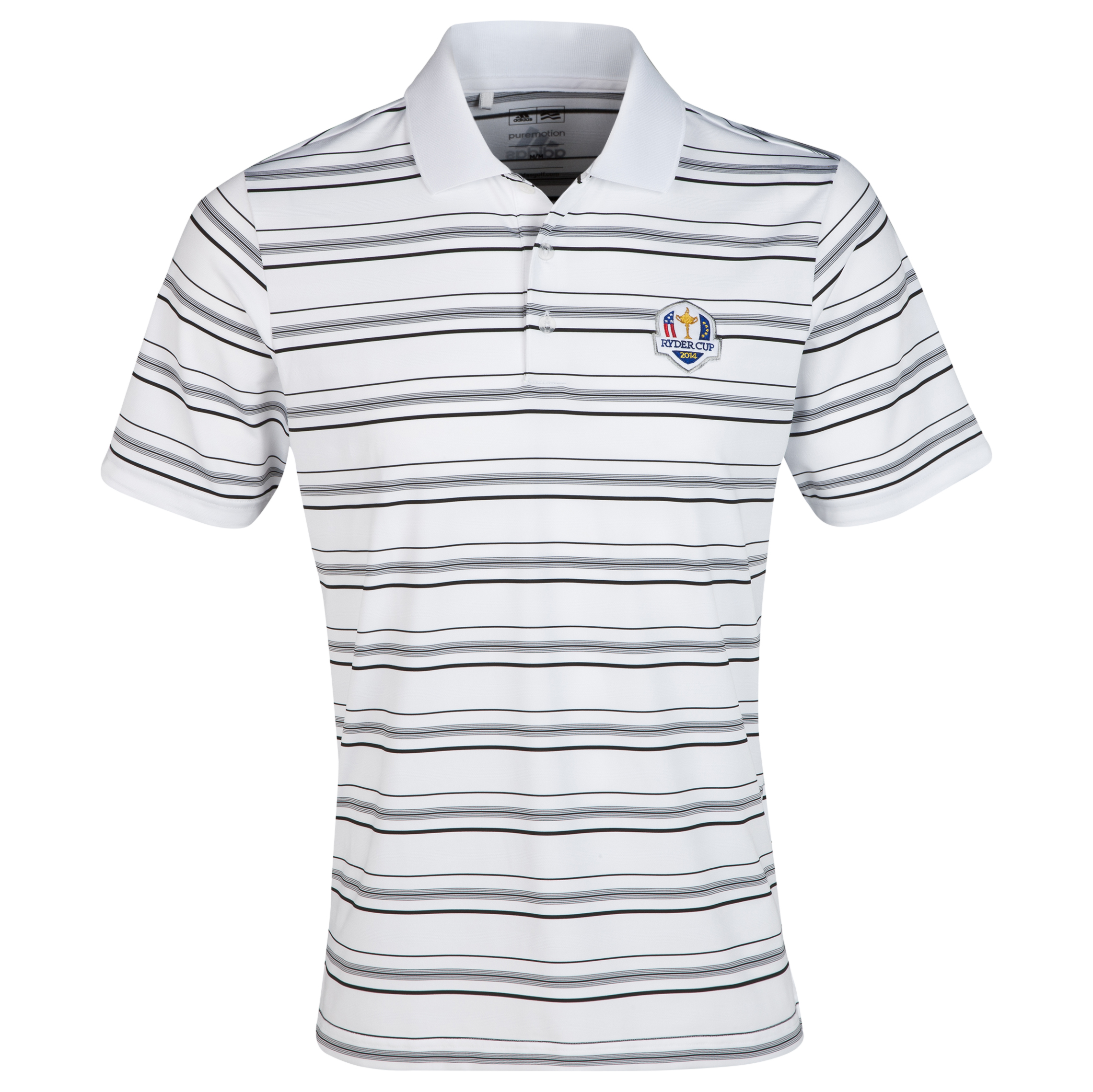 The 2014 Ryder Cup adidas ClimaLite 2-Colour Stripe Polo White