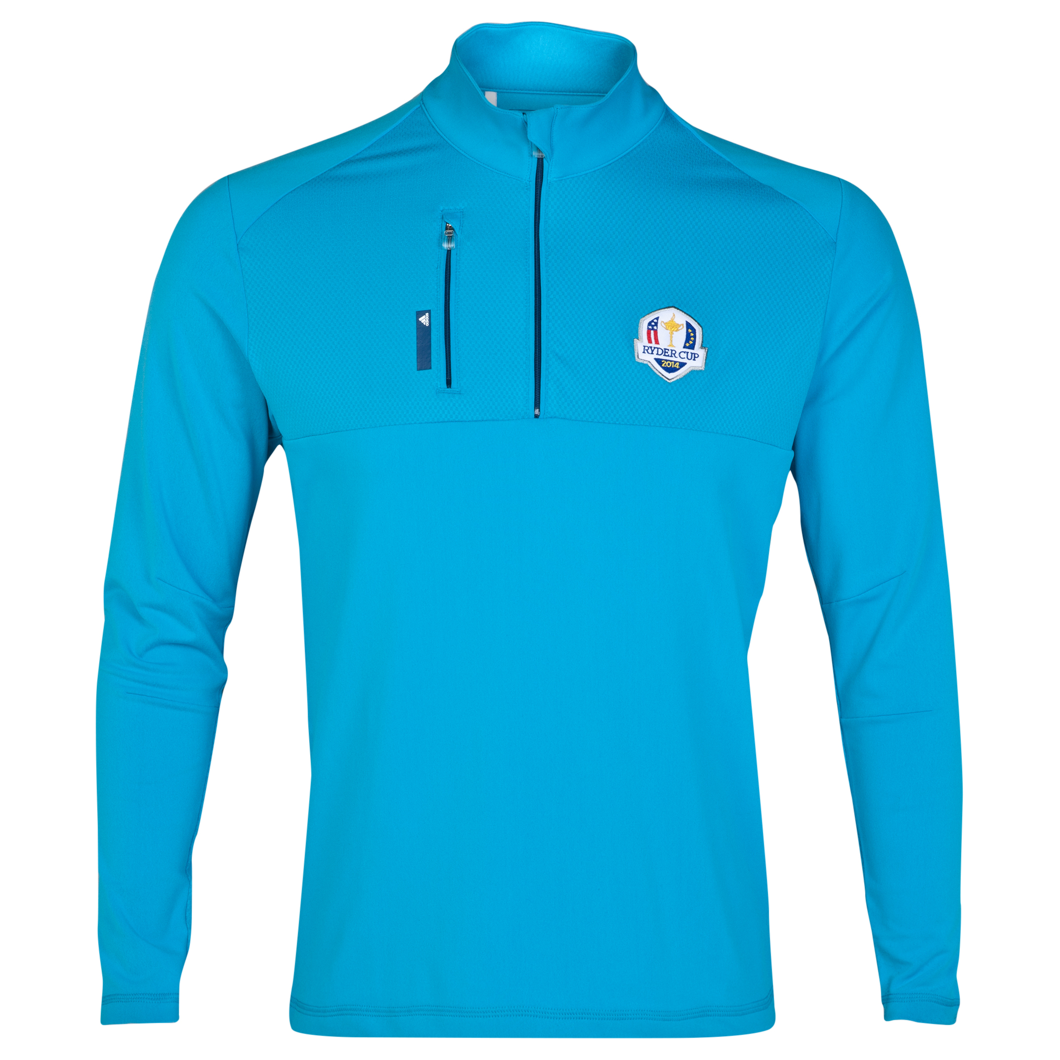 The 2014 Ryder Cup adidas ClimaLite Mixed Media 1/4 Zip Layering Piece Sky Blue
