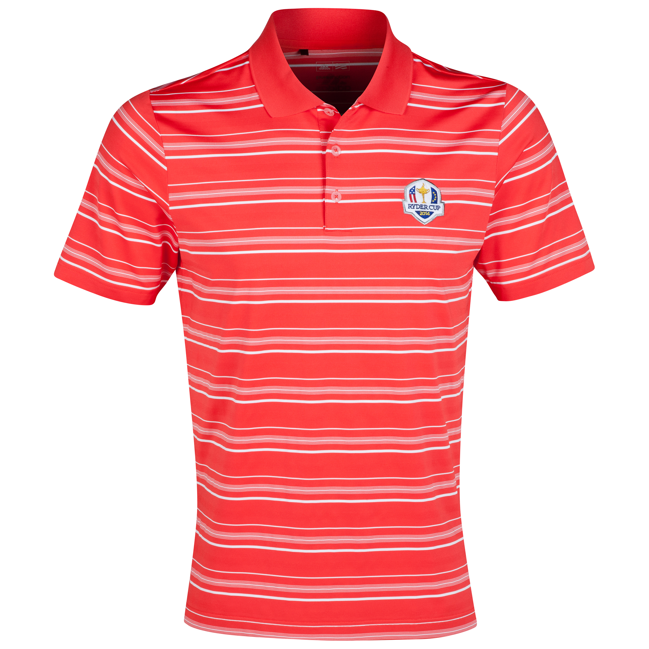 The 2014 Ryder Cup adidas ClimaLite 2-Colour Stripe Polo Red