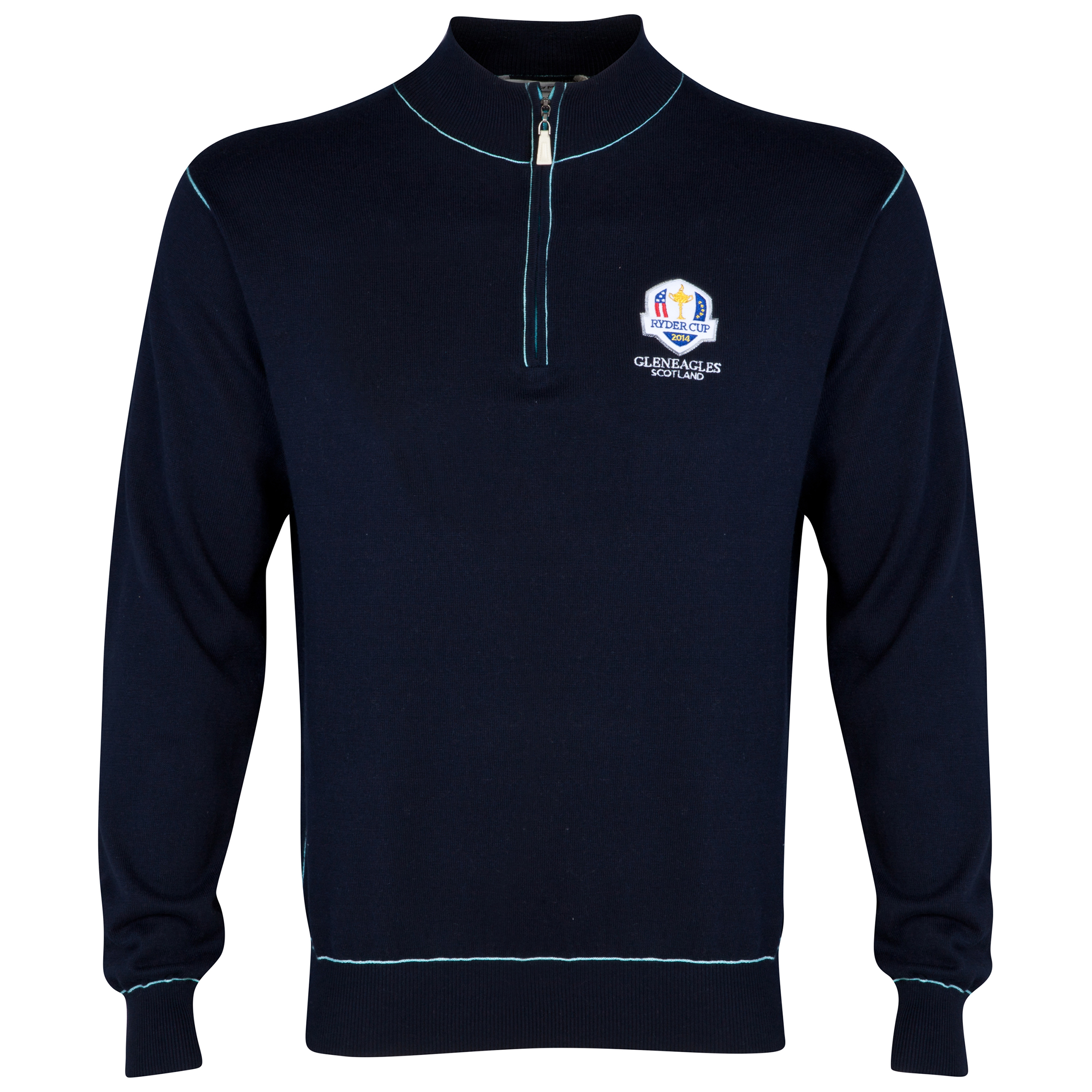 The 2014 Ryder Cup Peter Millar Cotton Cashmere Corded Contrast Zip Tooth 1/4 Zip Sweater
