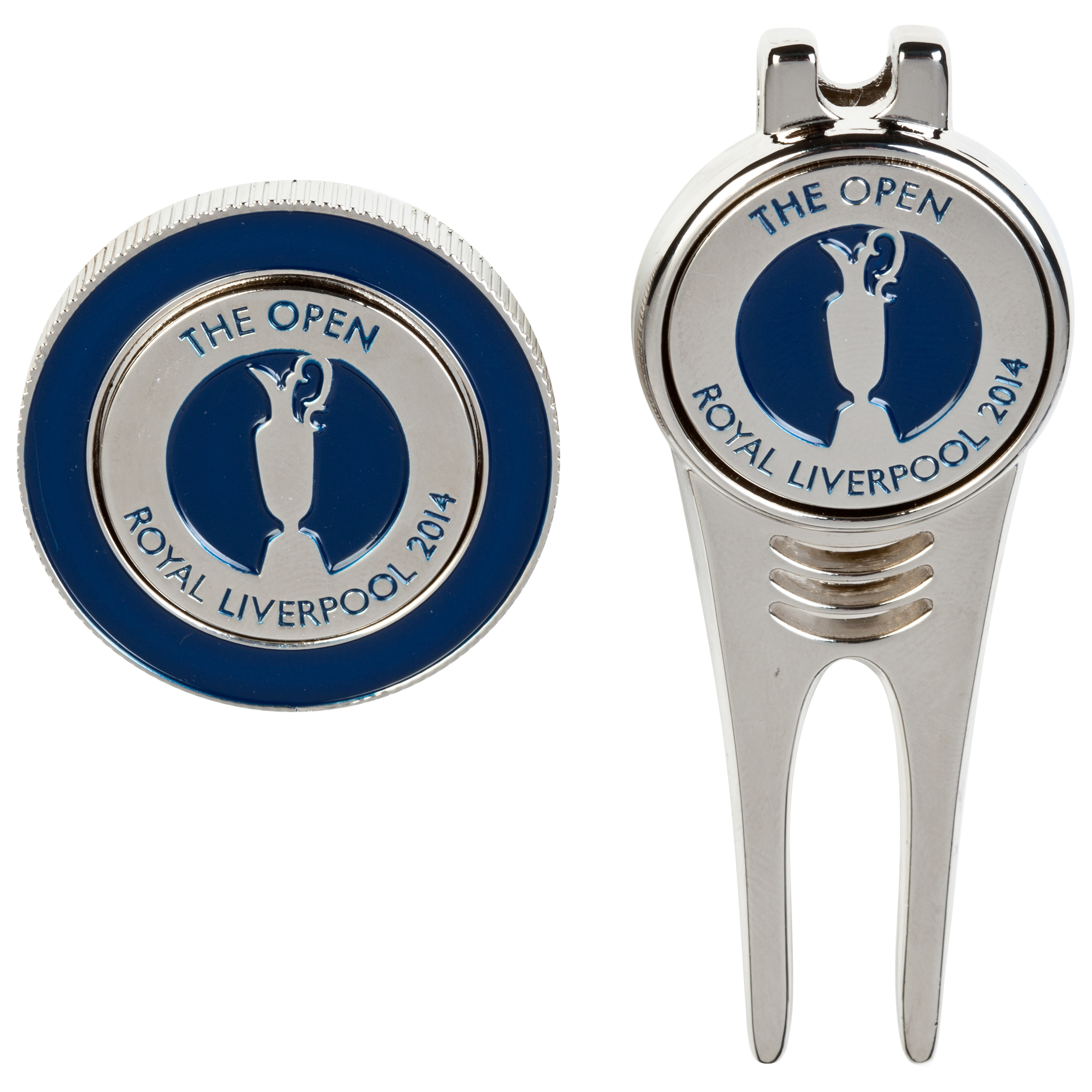 The Open Championship Royal Liverpool 2014 Magnetic Pitchfork and Magnetic Ballmarker coin