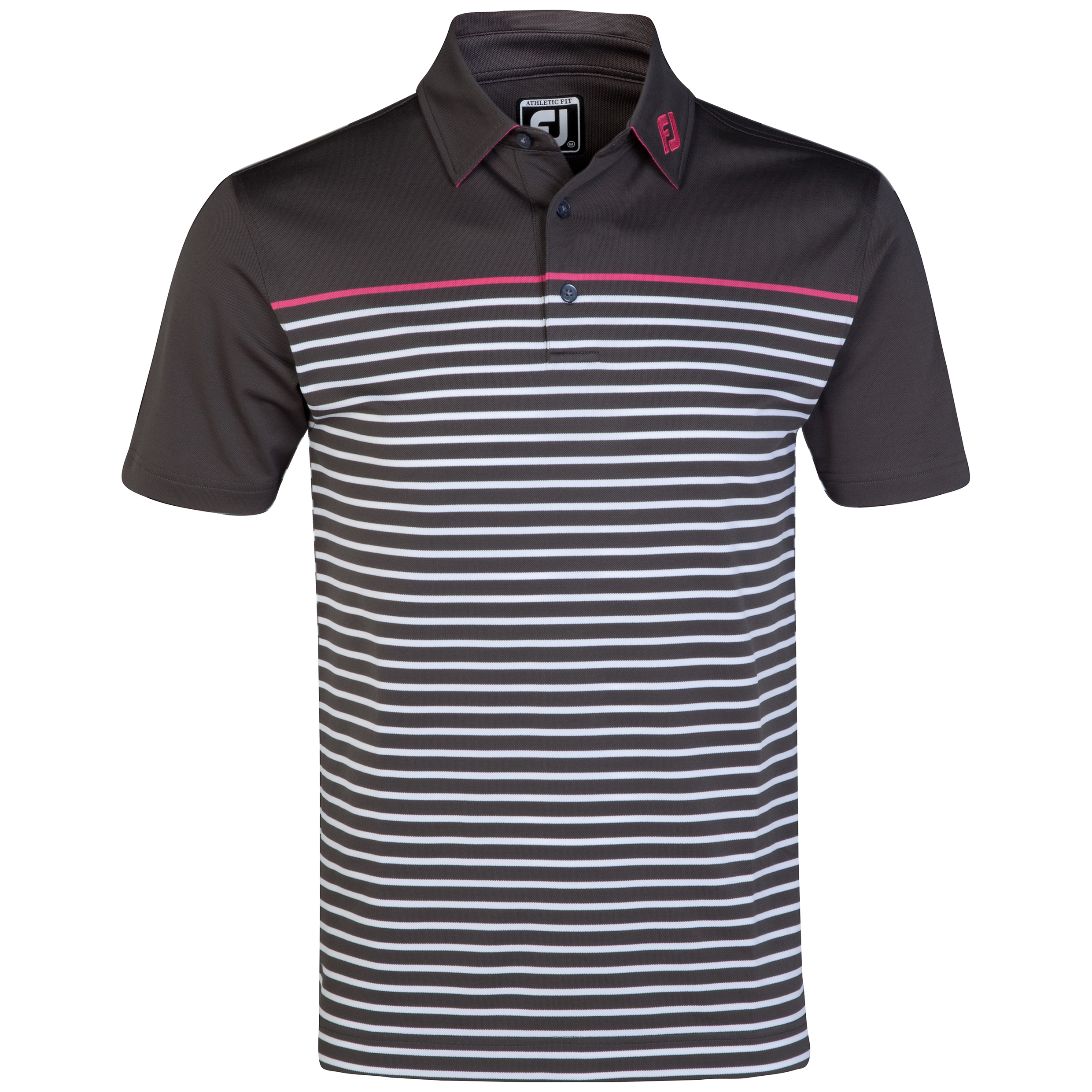 The 2014 Ryder Cup FootJoy Pique Chest Stripe Polo - Charcoal/White