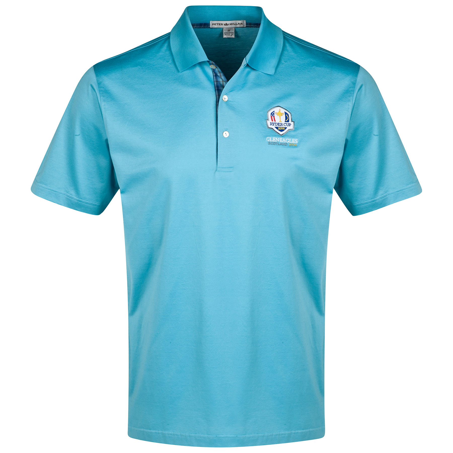 The 2014 Ryder Cup RC Tartan Mercerised Lisle Polo - Knit Collar Lt Blue
