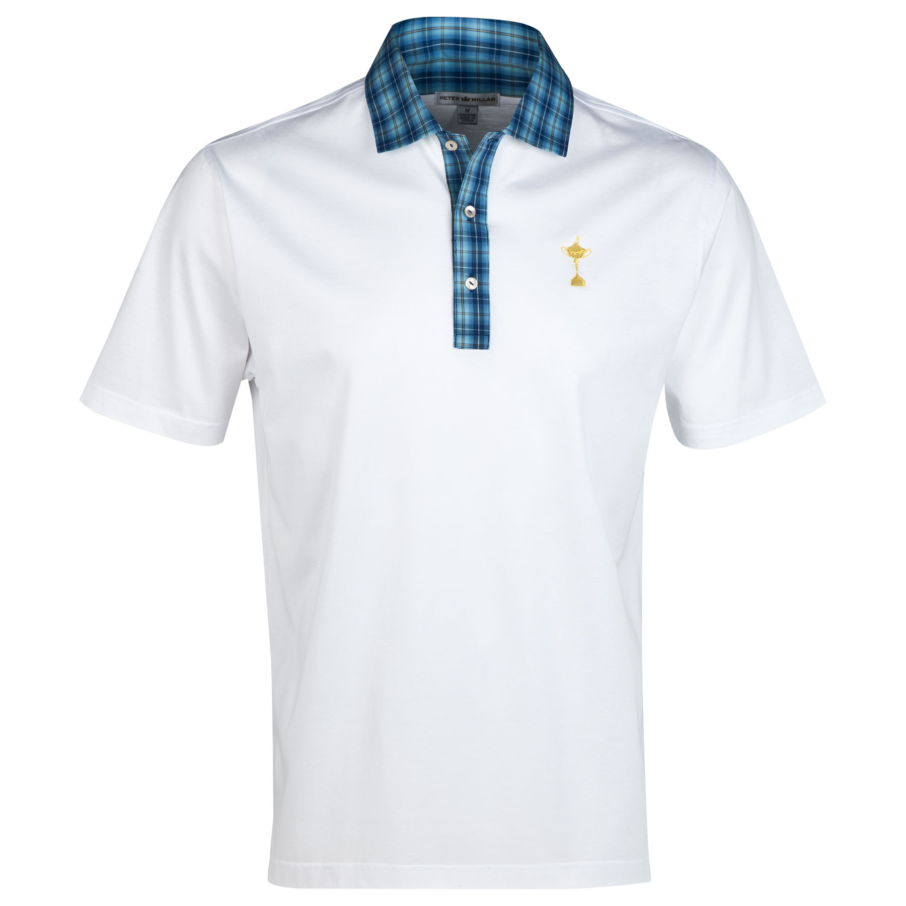 The 2014 Ryder Cup RC Tartan Mercerised Lisle Polo - Sean Woven Collar White
