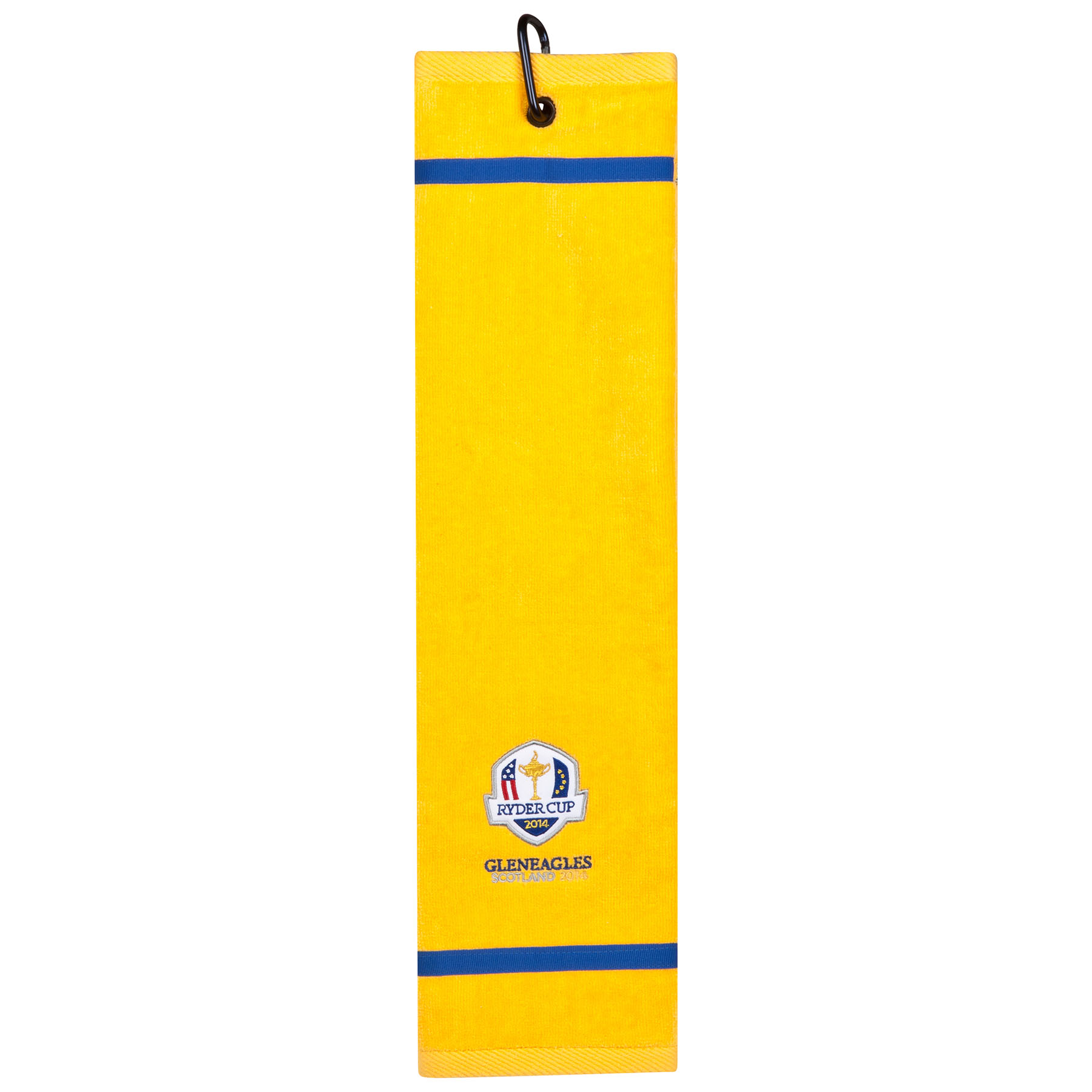 The 2014 Ryder Cup Fan Tri-Fold Towel Exploded Logo Vertical - Yellow/Euro Blue