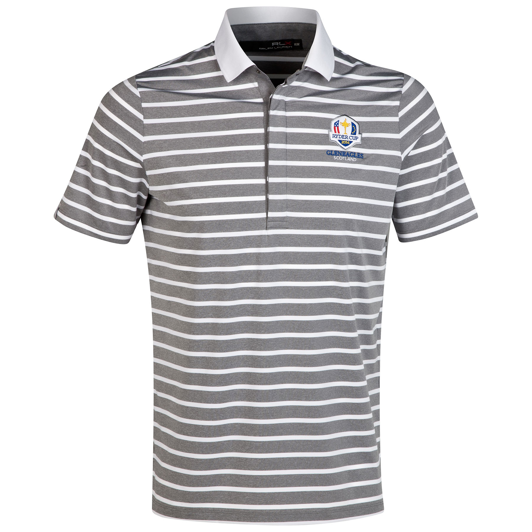 The 2014 Ryder Cup Ralph Lauren Striped Airflow Polo - Everest Heather/Pure White