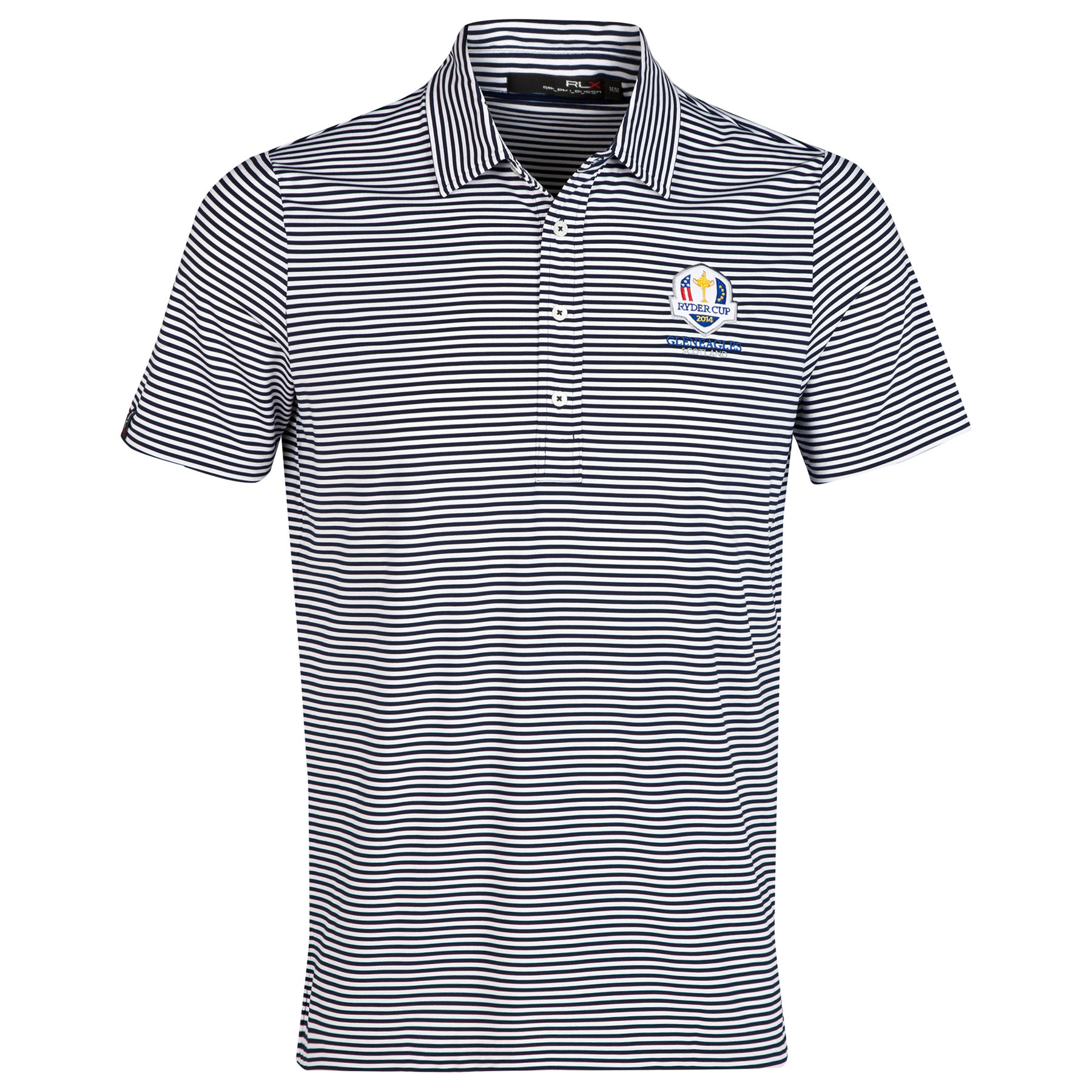 The 2014 Ryder Cup Ralph Lauren Striped Airflow Polo - Pure White/French Navy